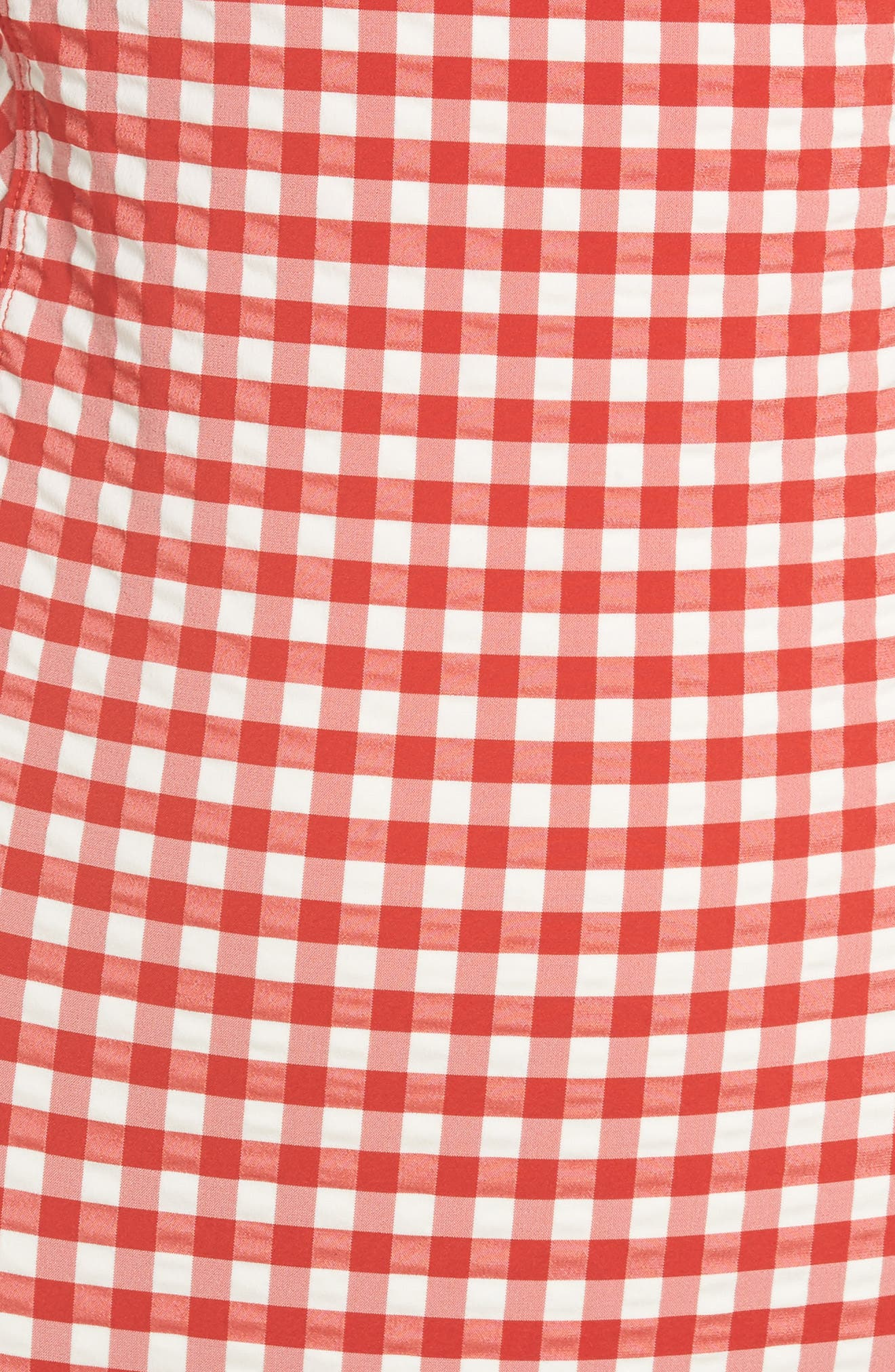 Gingham One-Piece Underwire Swimsuit,                             Alternate thumbnail 5, color,                             Red / White