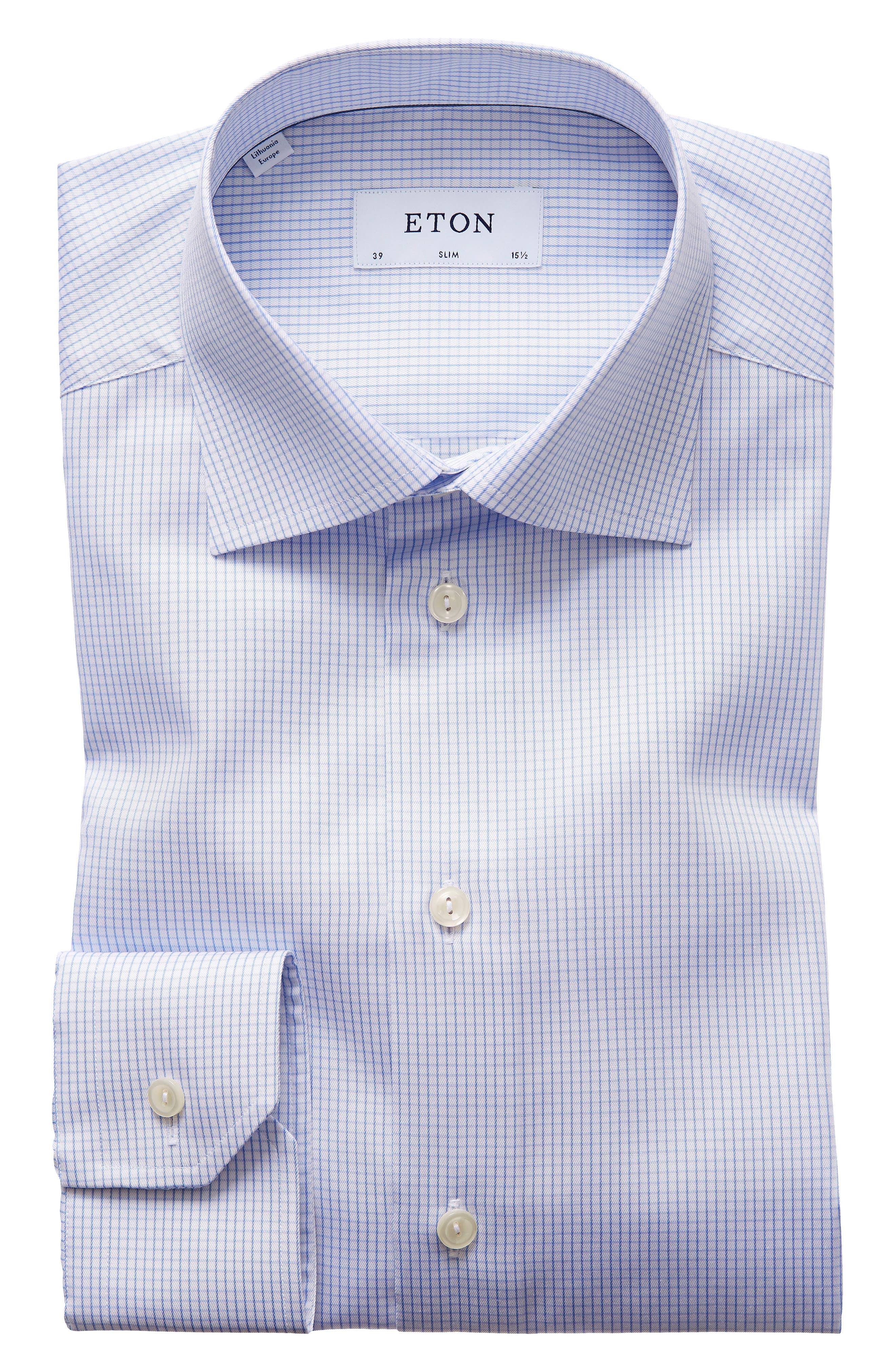 Slim Fit Check Dress Shirt,                         Main,                         color, Blue