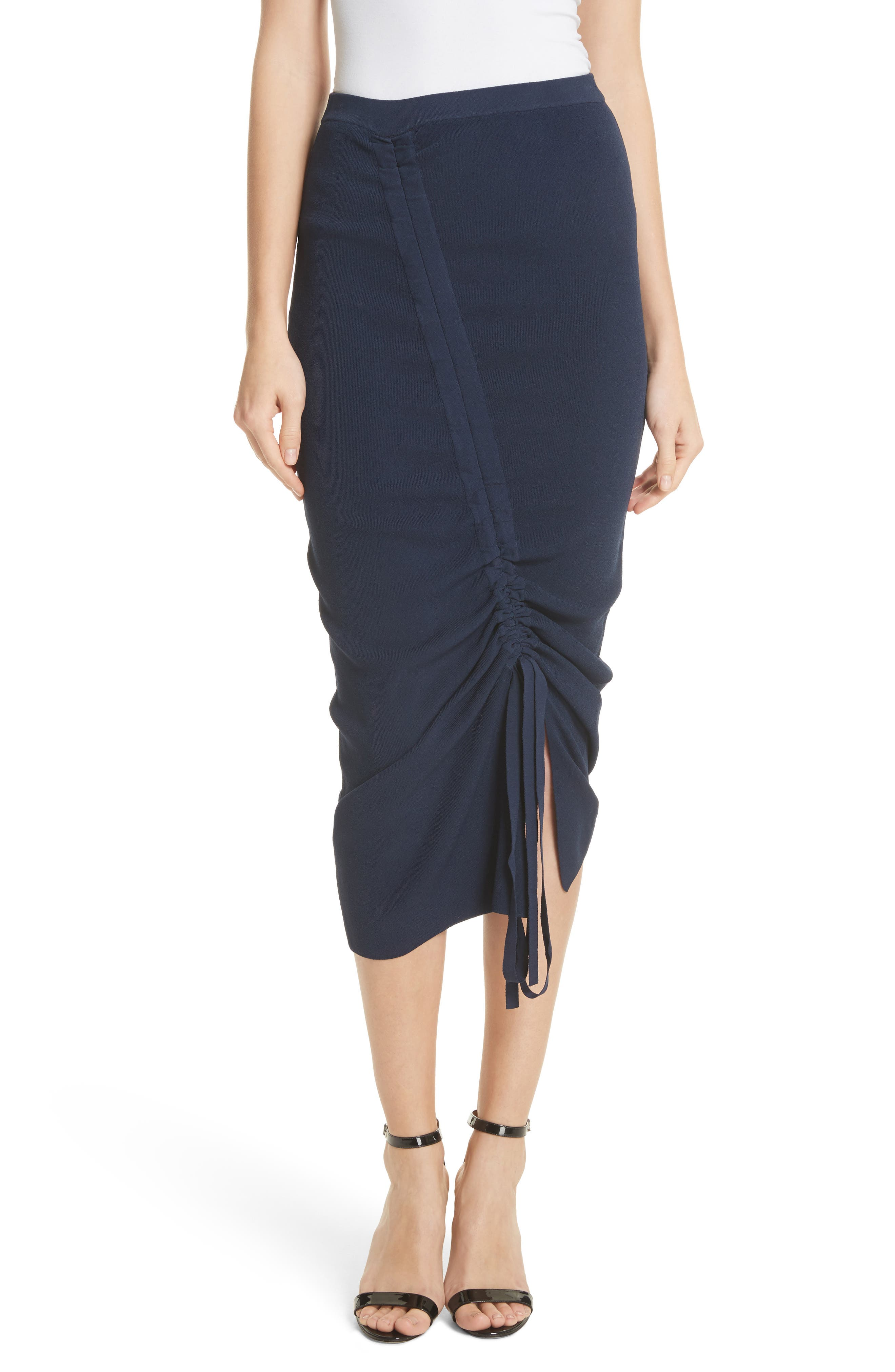 Ruched Midi Skirt,                         Main,                         color, Navy