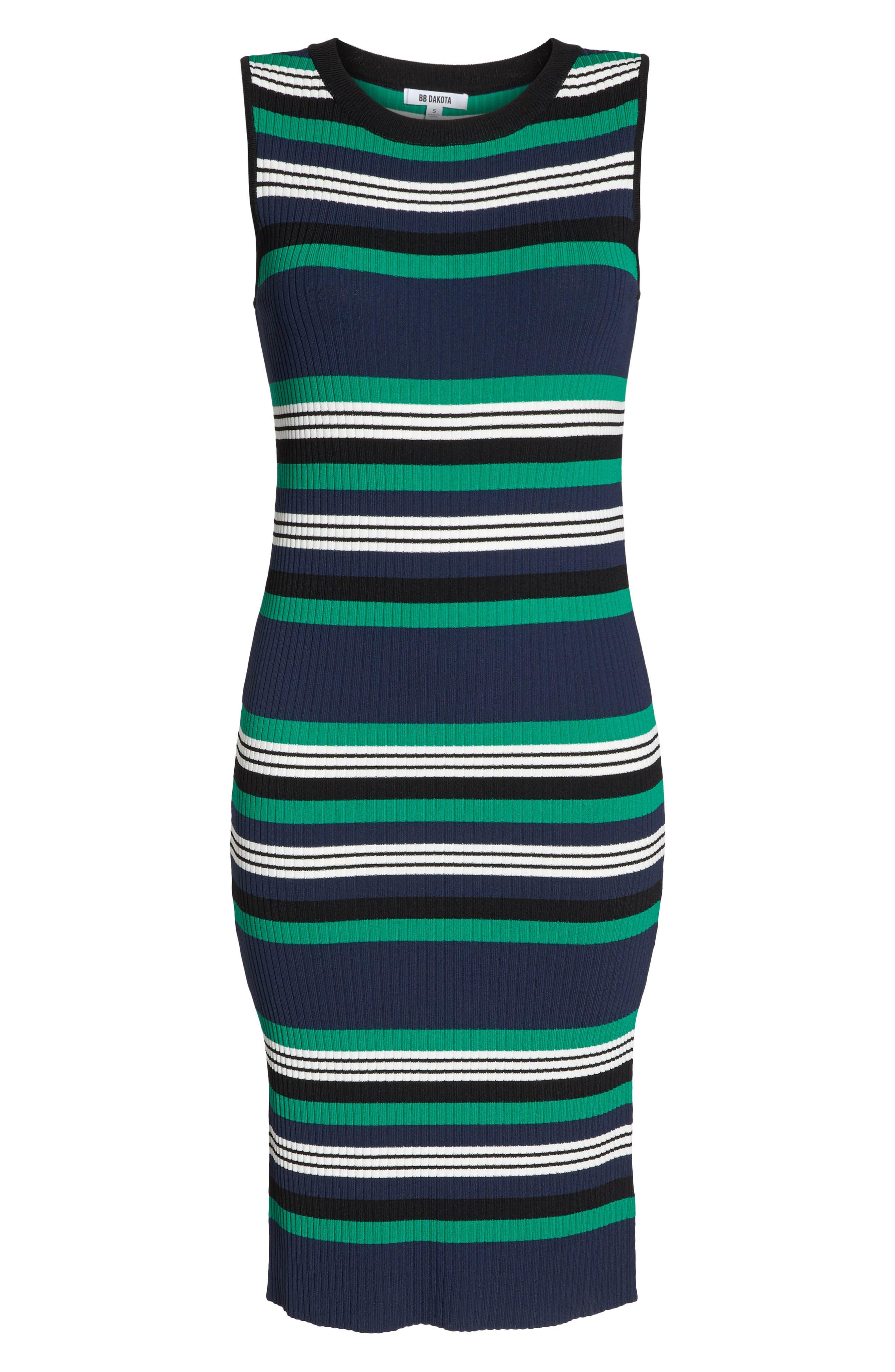 Callie Stripe Body-Con Dress,                             Alternate thumbnail 6, color,                             Navy