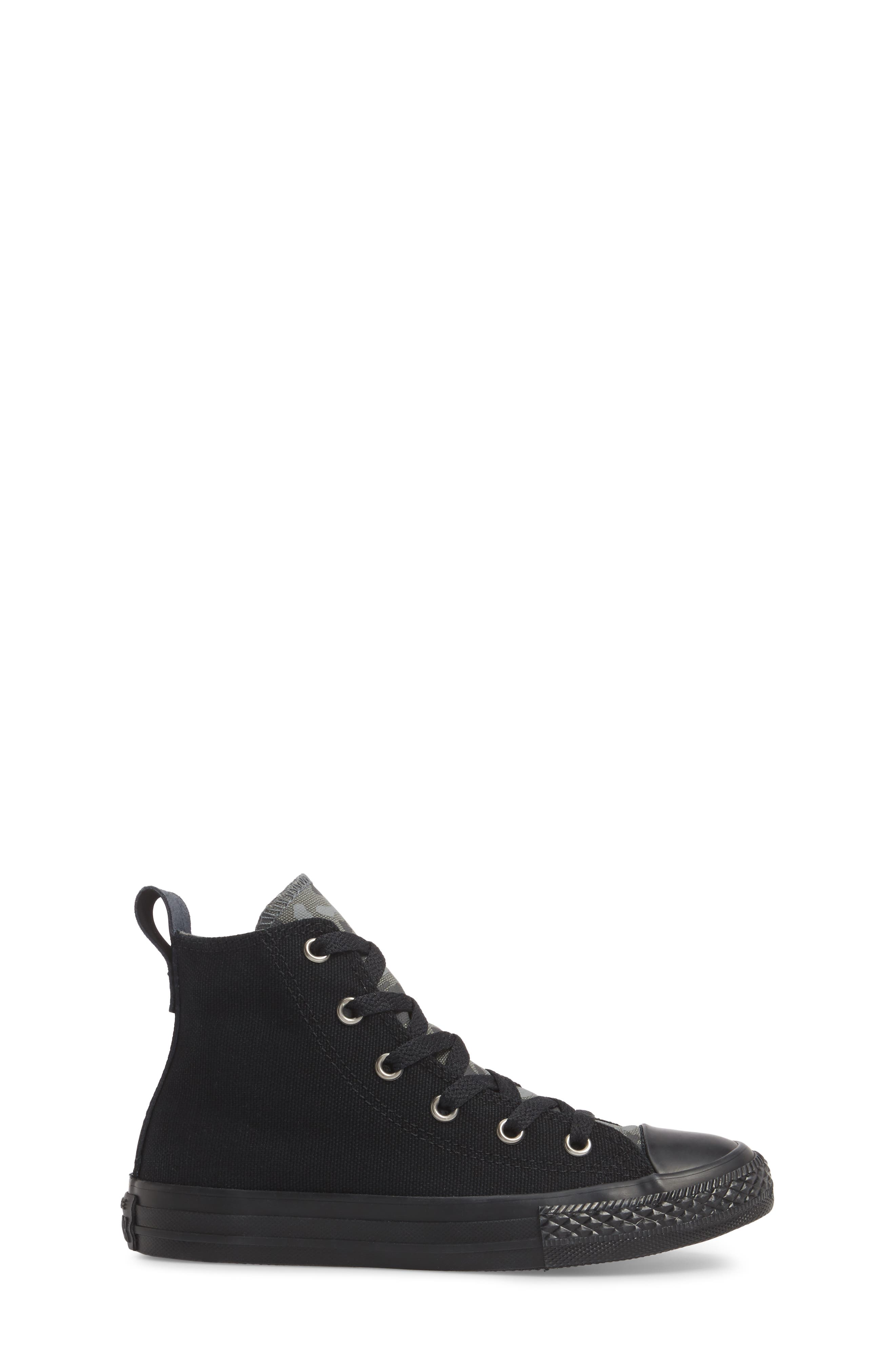 Chuck Taylor<sup>®</sup> All Star<sup>®</sup> Camo High Top Sneaker,                             Alternate thumbnail 3, color,                             Black