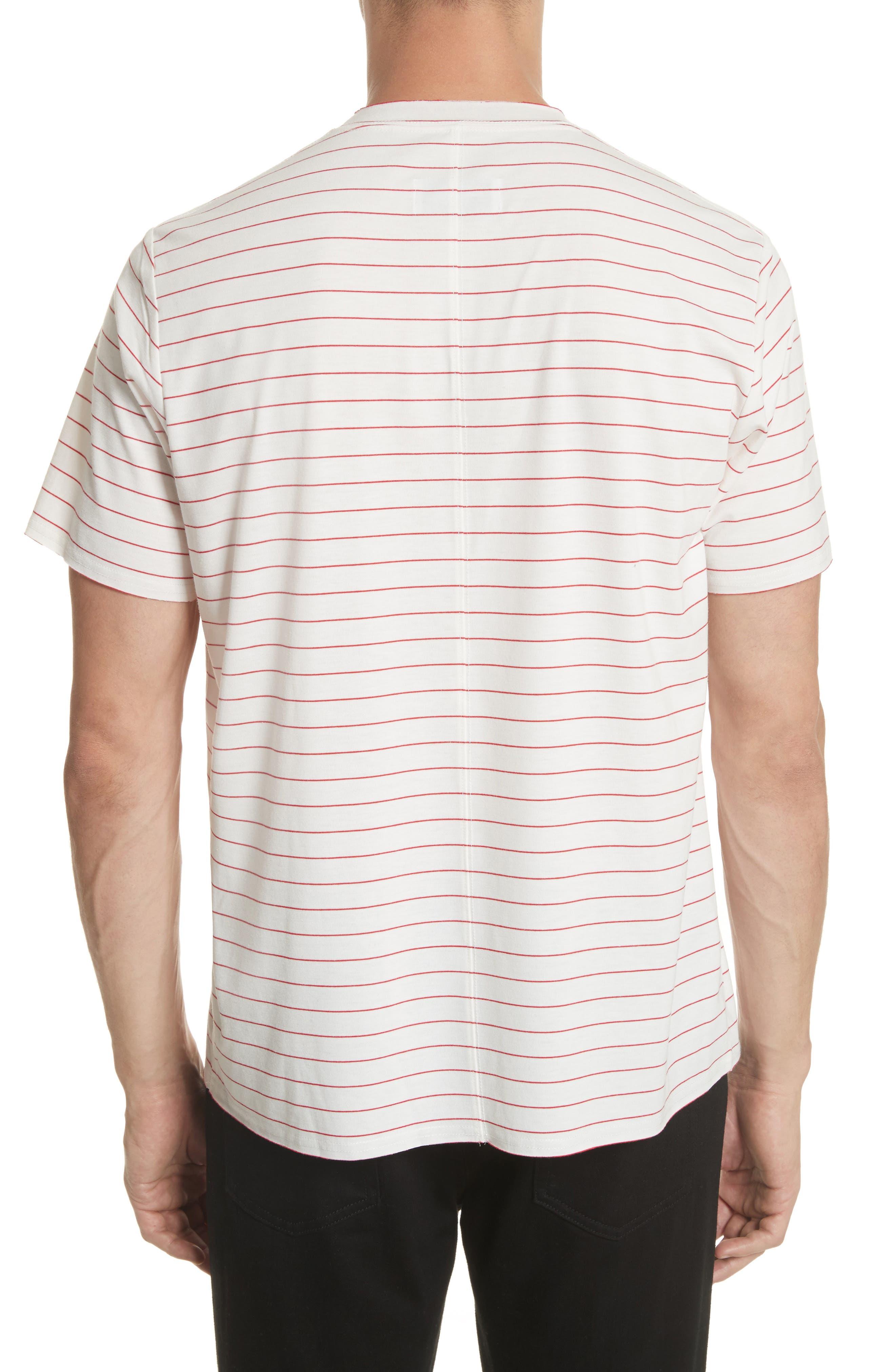 Stripe Crewneck T-Shirt,                             Alternate thumbnail 2, color,                             White/ Red