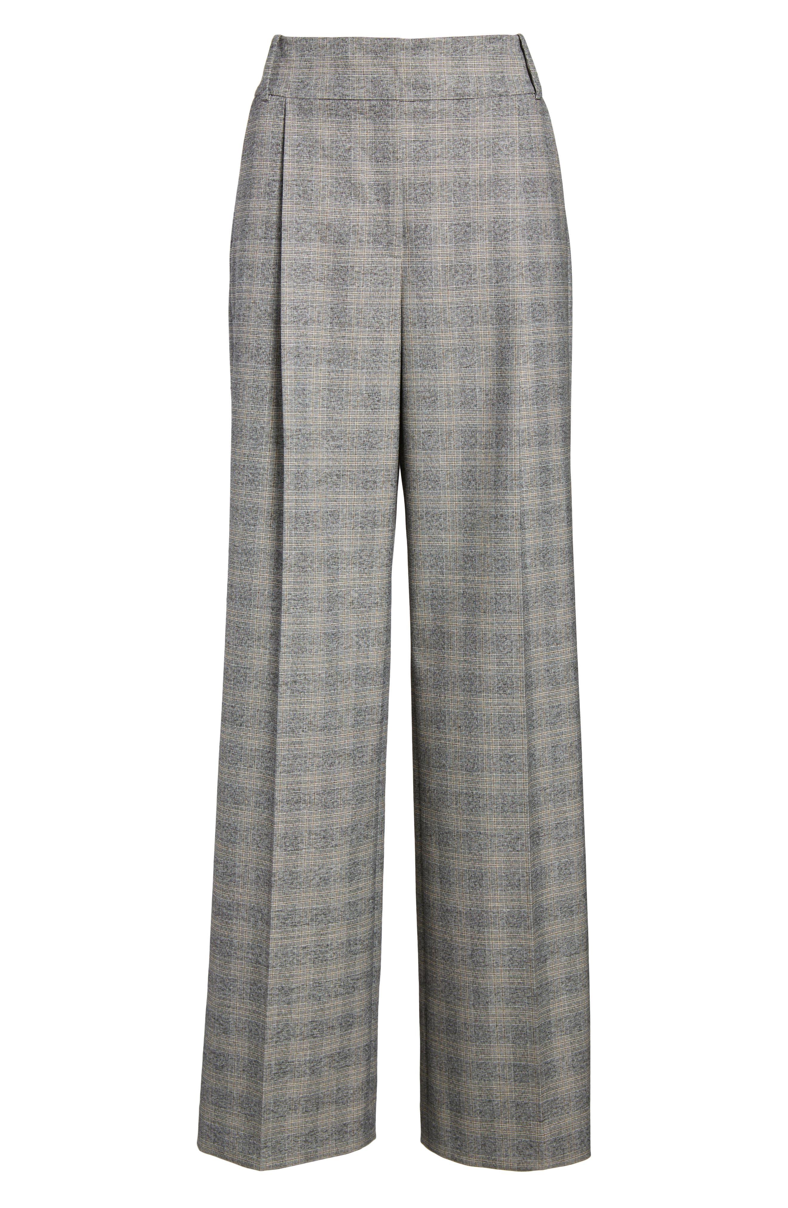Check Plaid Wide Leg Suit Pants,                             Alternate thumbnail 6, color,                             Grey Check
