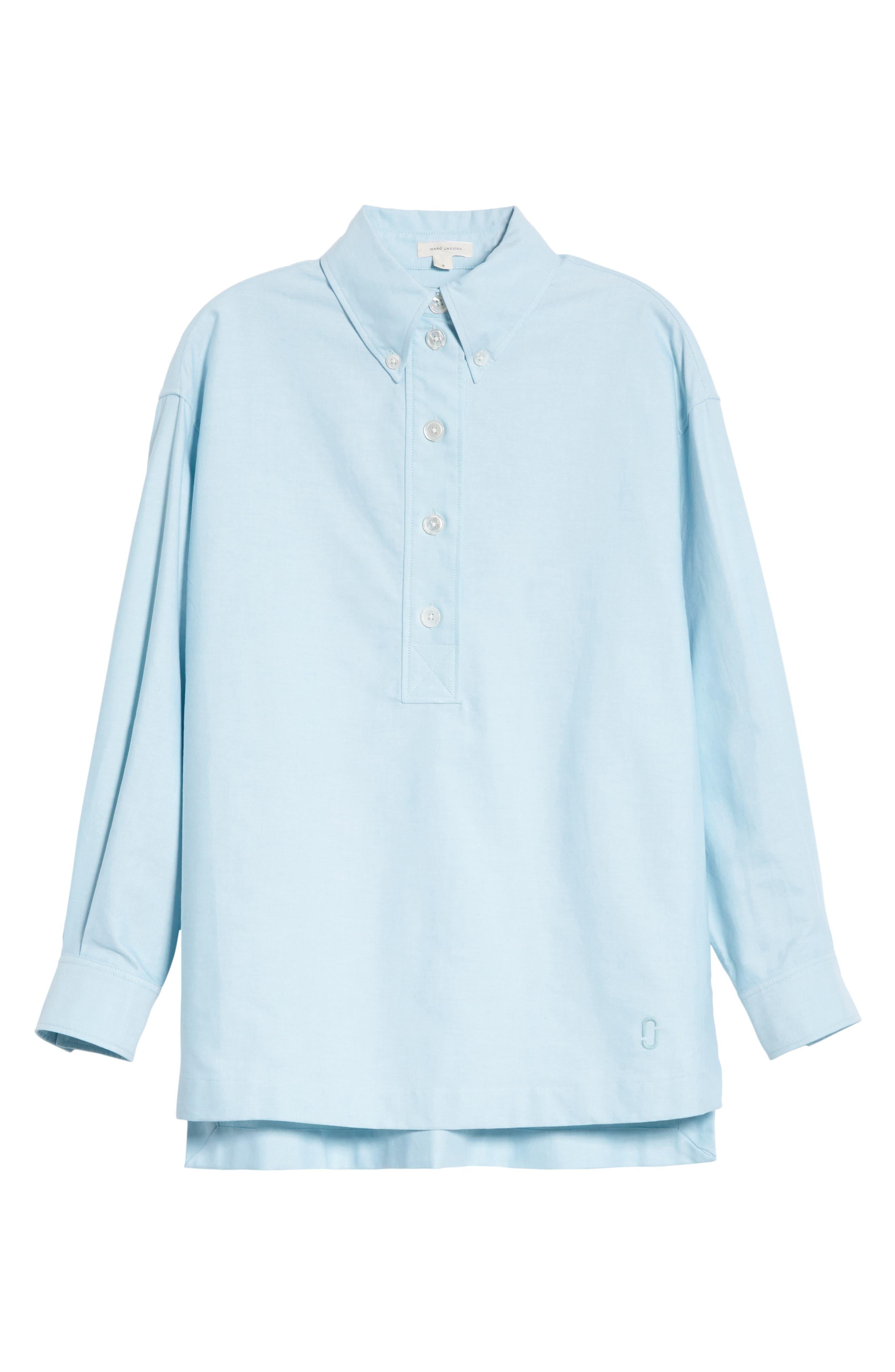 Oversize Half Placket Shirt,                             Alternate thumbnail 6, color,                             Light Turquoise