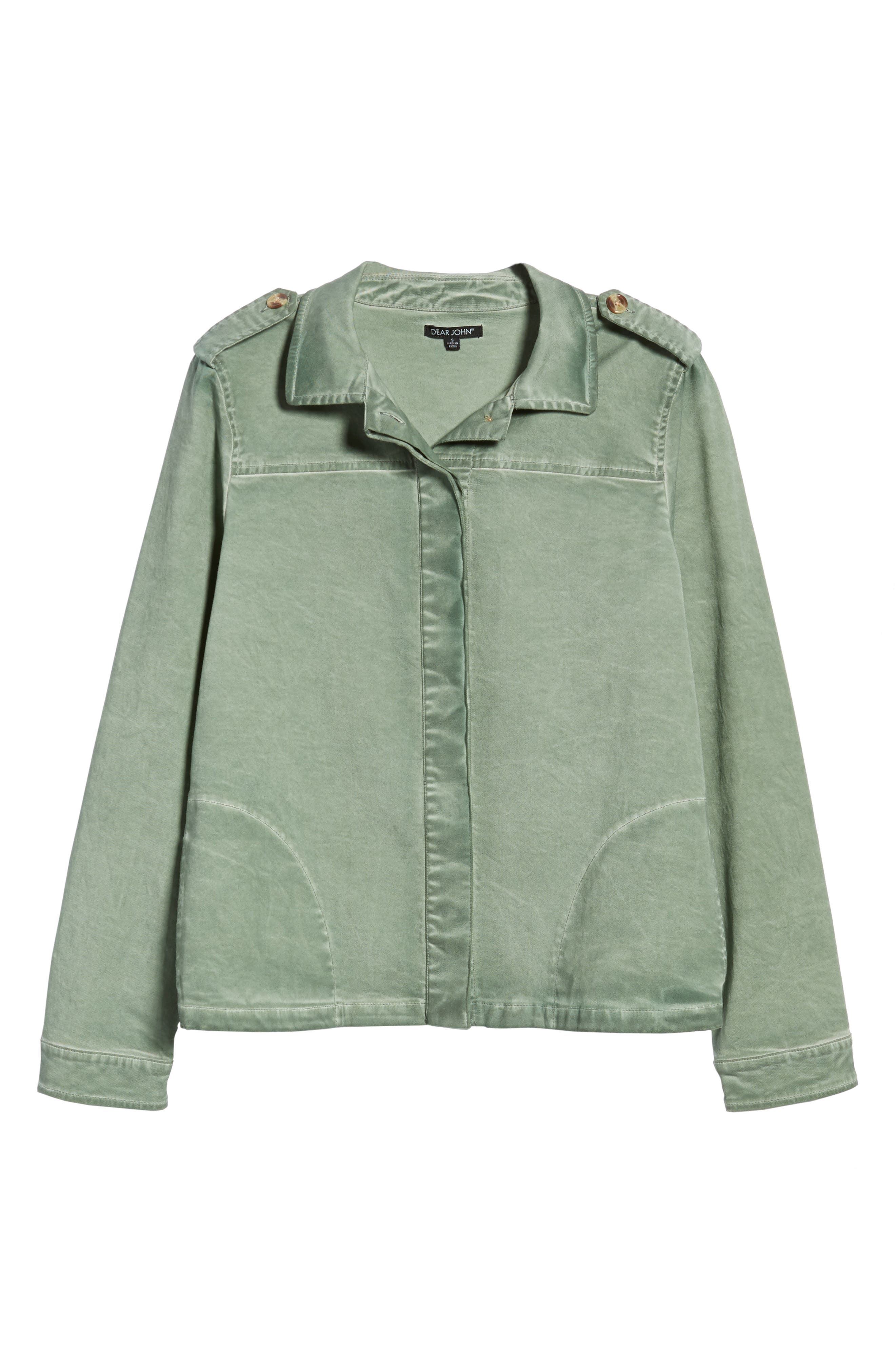 Shoulder Tab Button Up Jacket,                             Alternate thumbnail 6, color,                             Sweet Pea