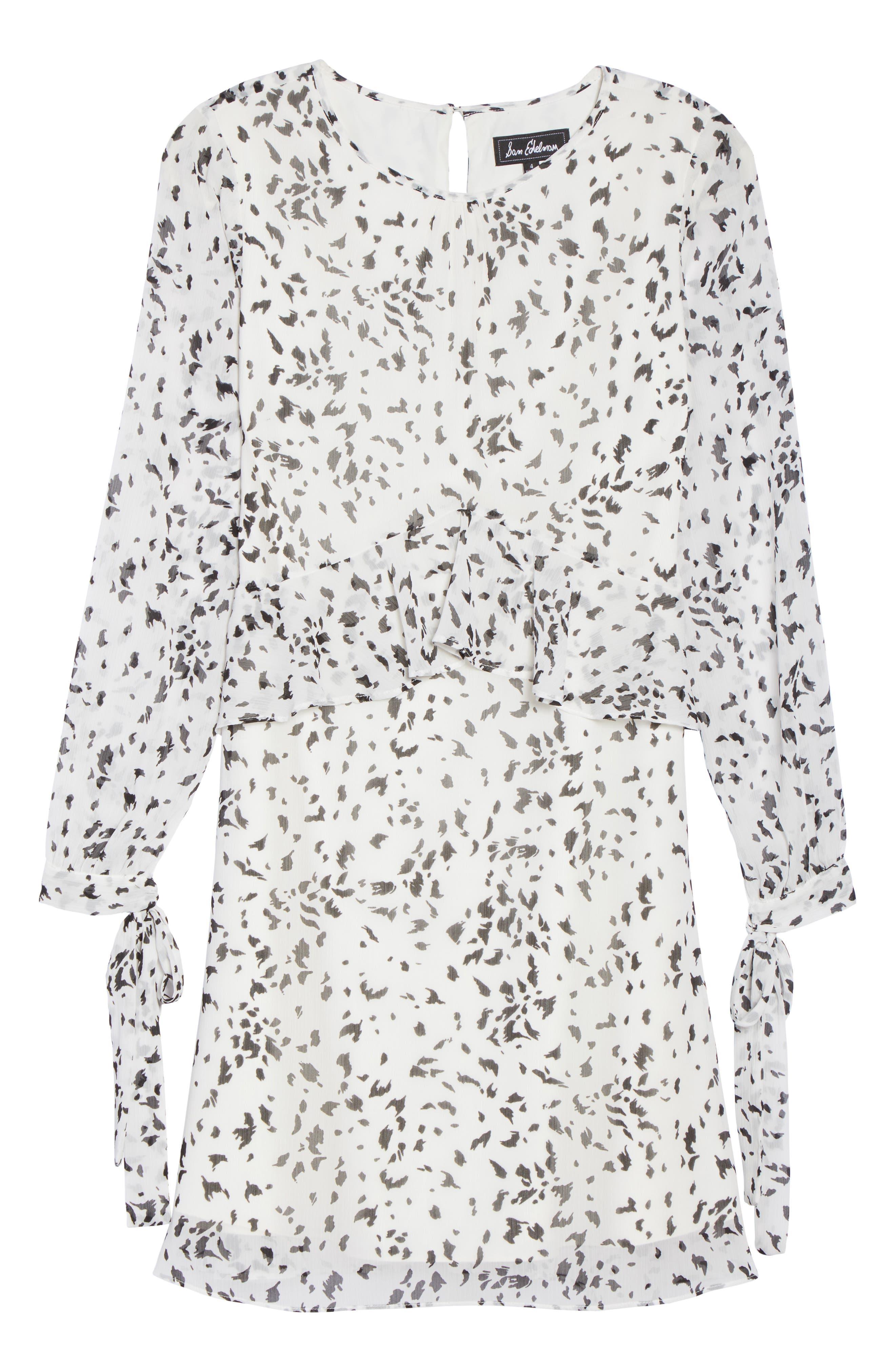 Print Ruffle Dress,                             Alternate thumbnail 6, color,                             White/ Black