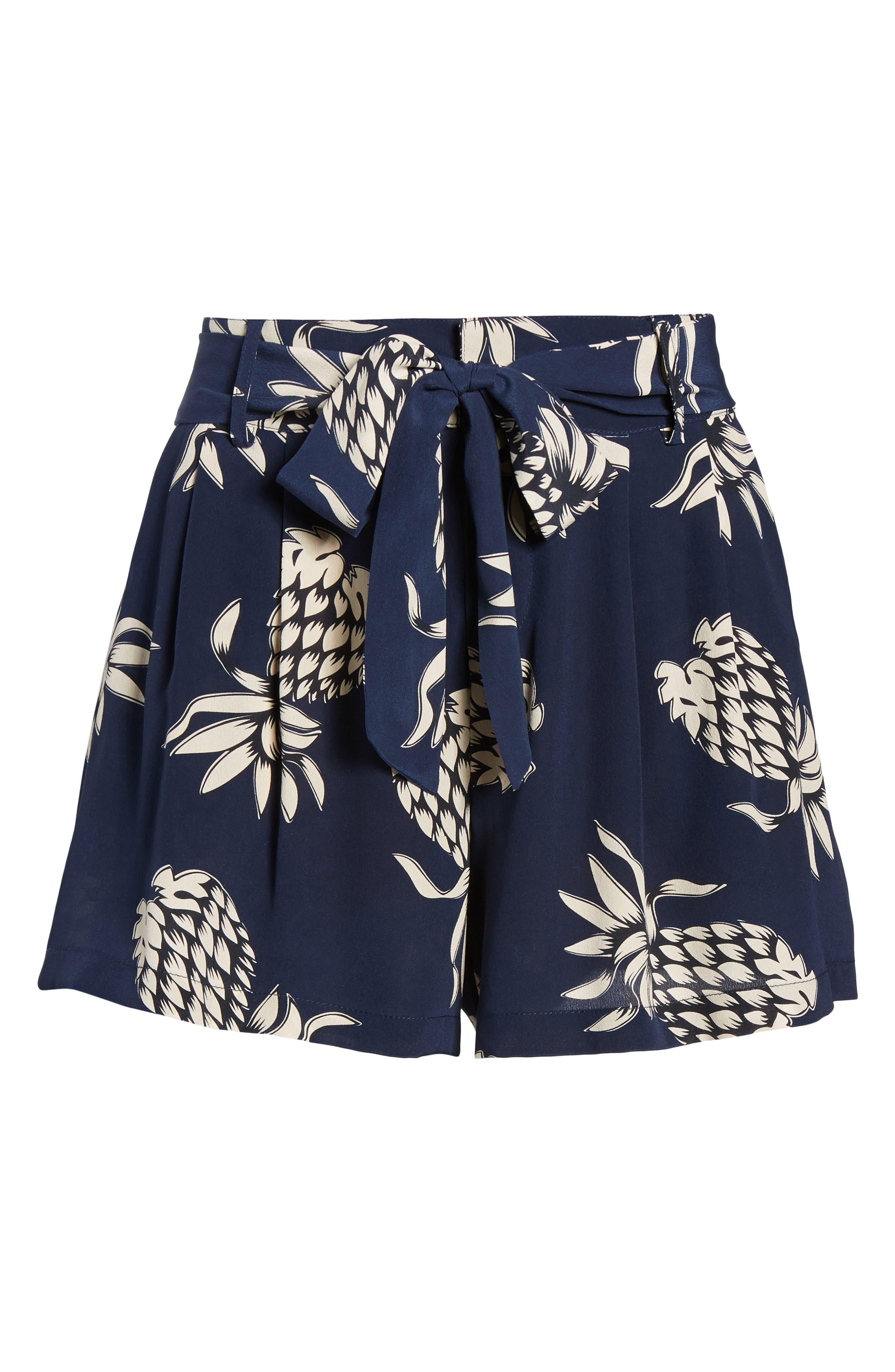 Gigi Print Silk Shorts,                             Alternate thumbnail 6, color,                             Ananas Navy