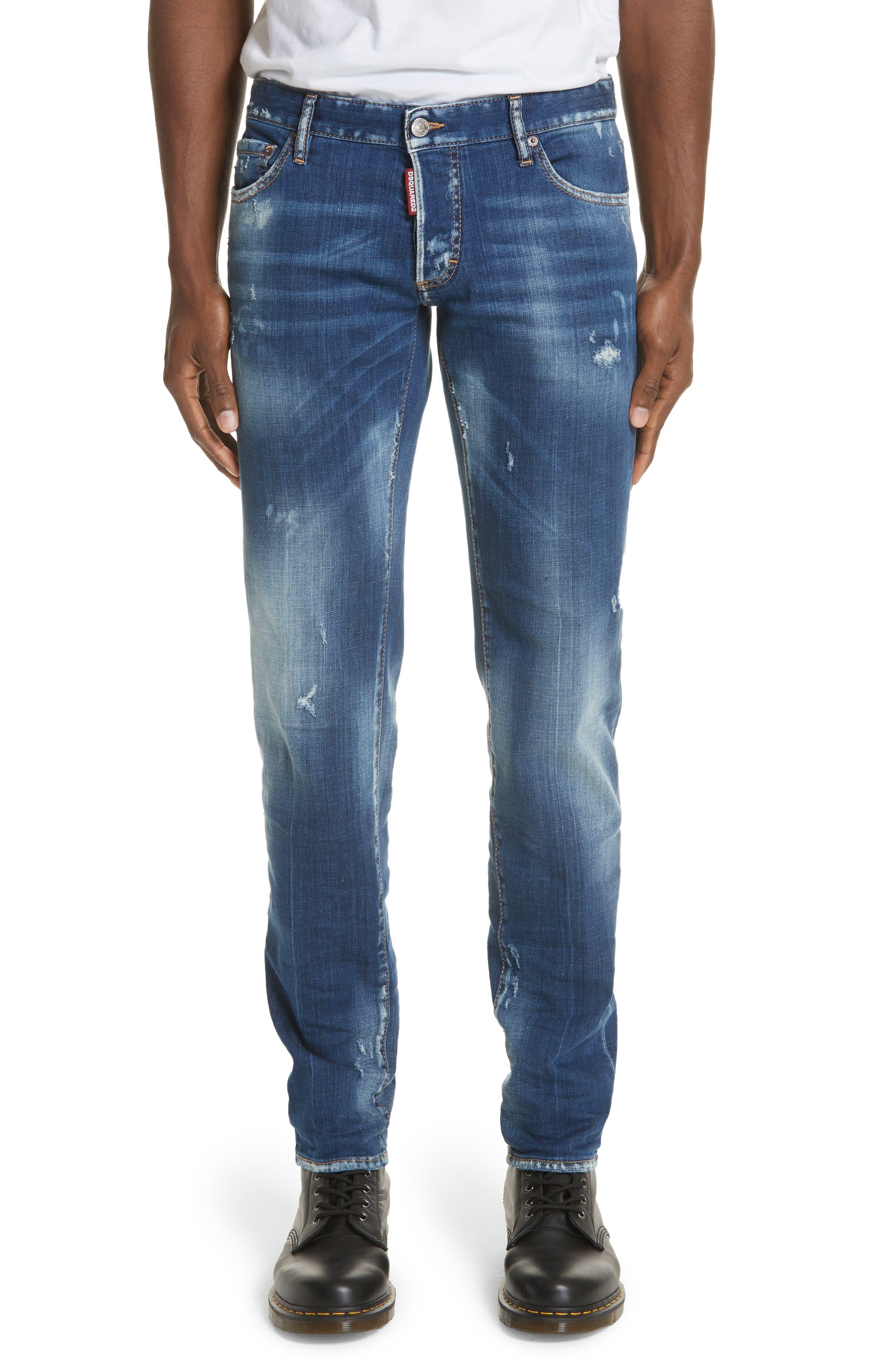 Slim Fit Medium Wash Jeans,                             Main thumbnail 1, color,                             Navy/Blue