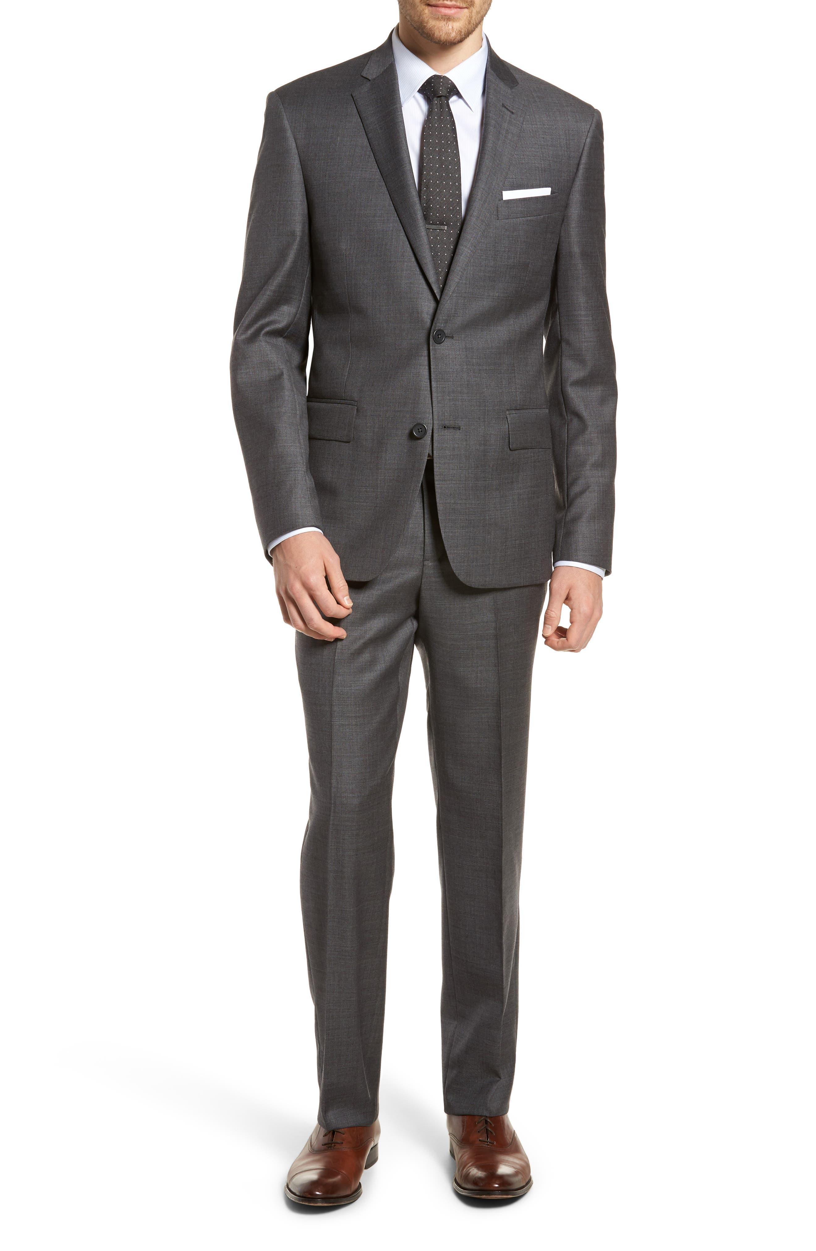 Trim Fit Sharkskin Wool Suit,                         Main,                         color, Mid Char