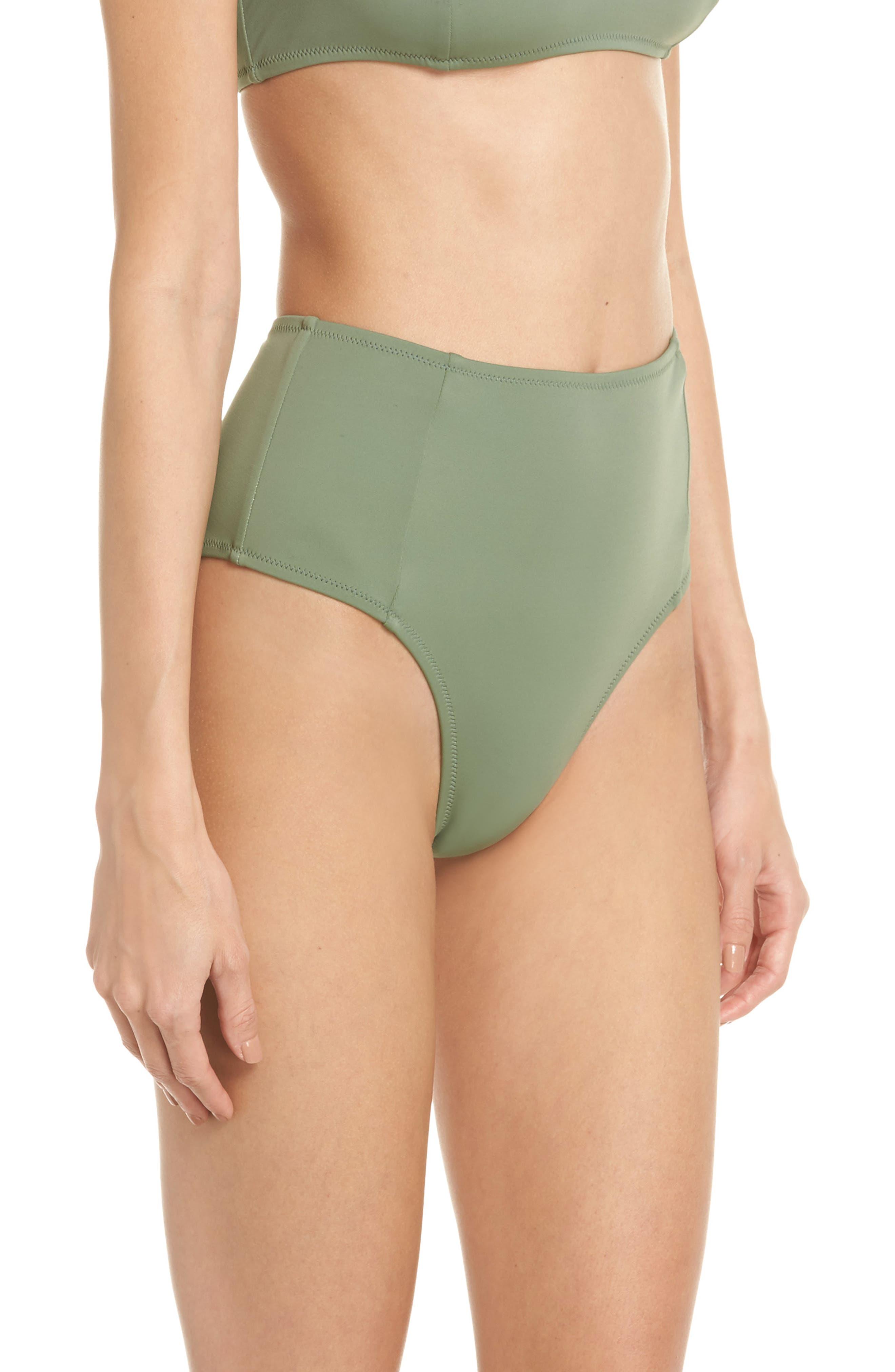 The Jessica High Waist Bikini Bottoms,                             Alternate thumbnail 3, color,                             Green