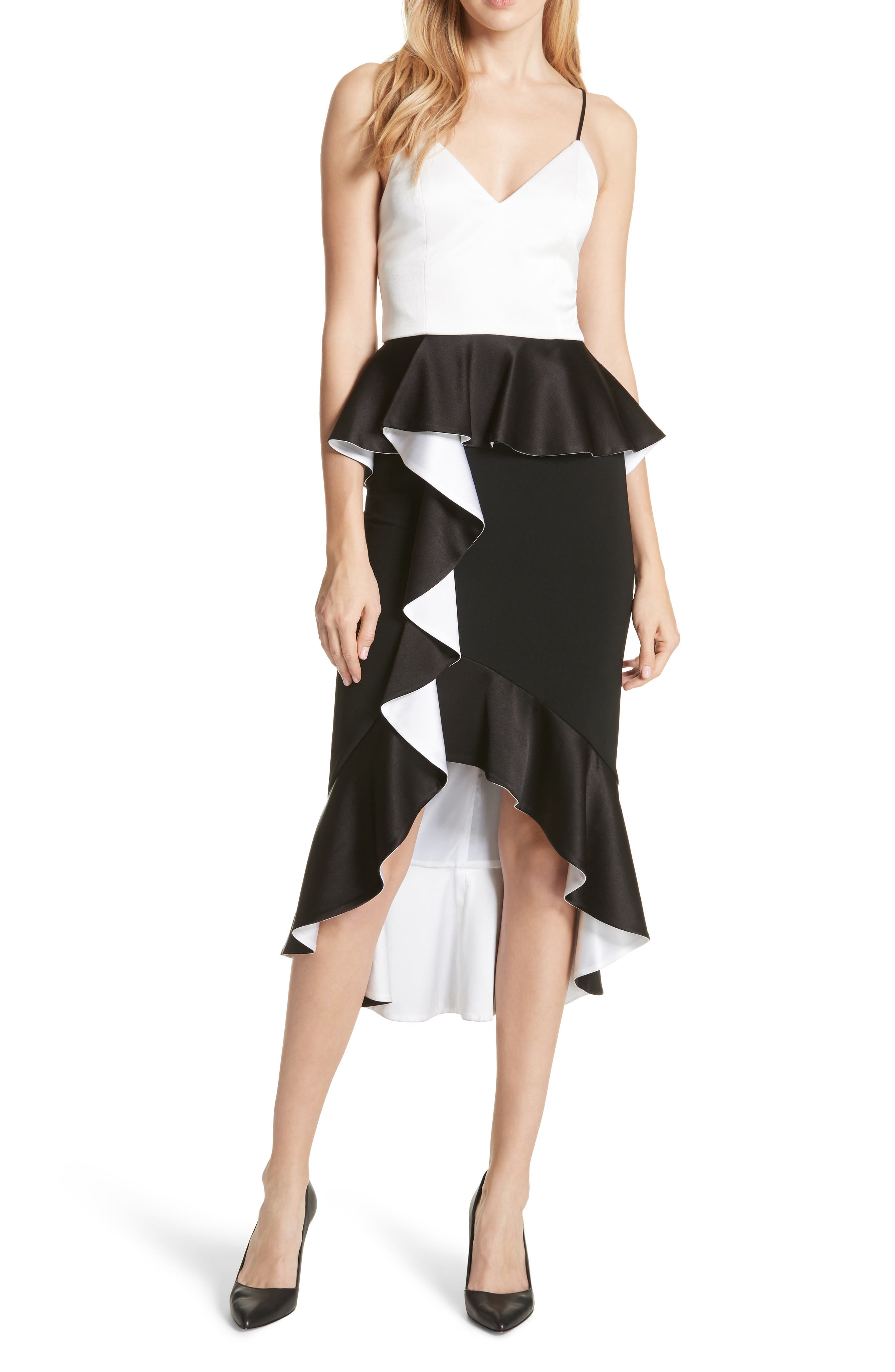Oriana Ruffled High/Low Dress,                         Main,                         color, Black/ Off White