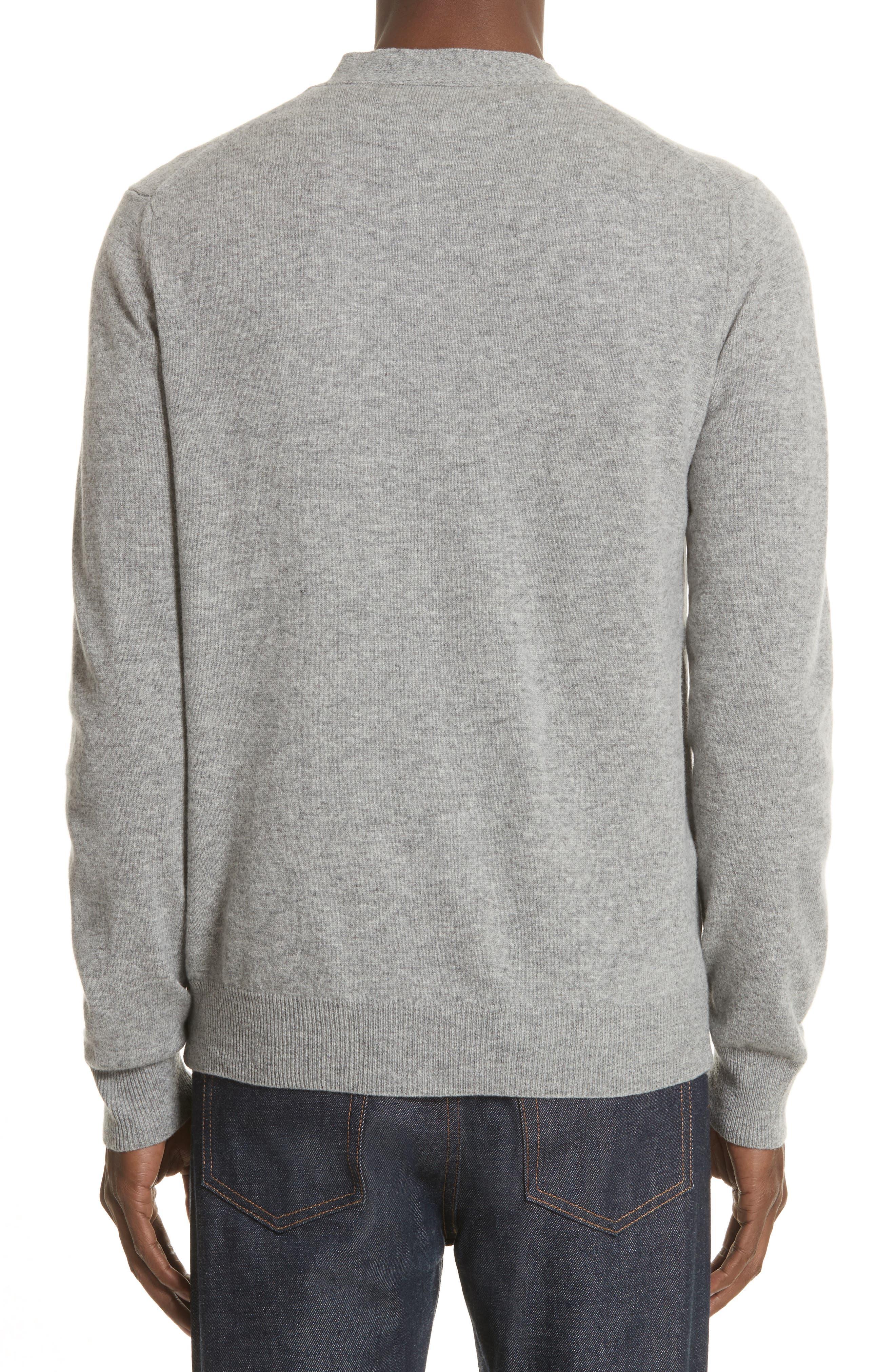White Heart Wool Cardigan,                             Alternate thumbnail 2, color,                             Light Grey