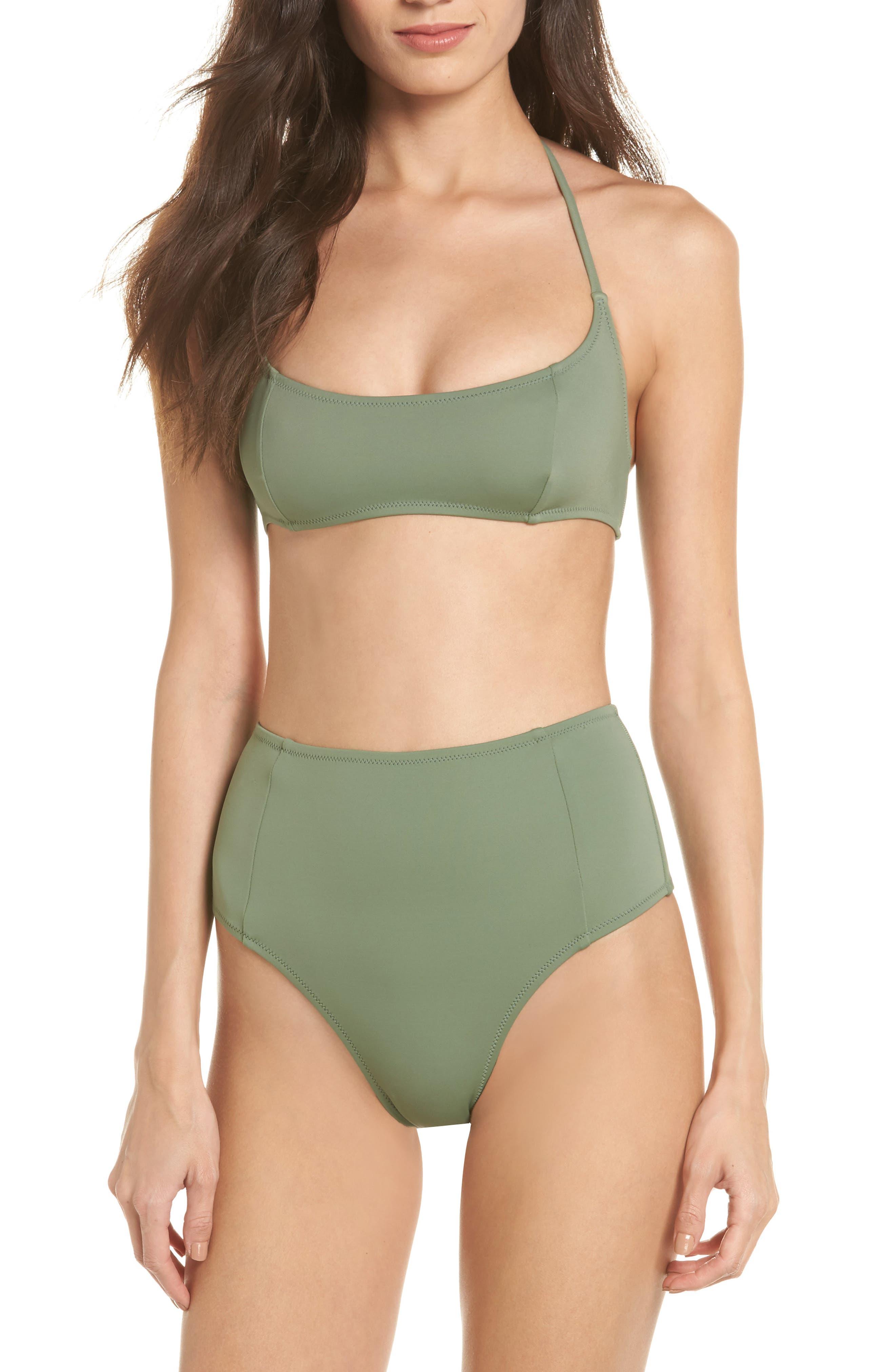 The Jessica High Waist Bikini Bottoms,                             Alternate thumbnail 5, color,                             Green