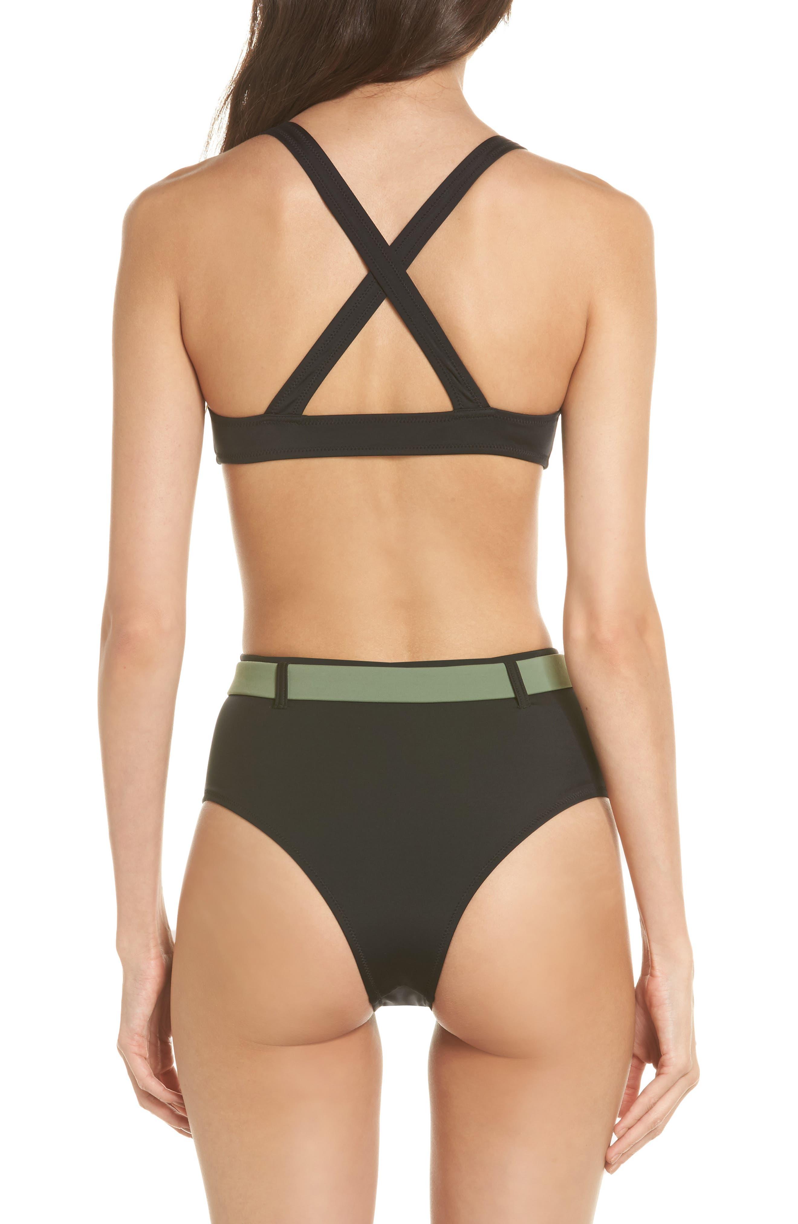 The Josephine High Waist Bikini Bottoms,                             Alternate thumbnail 6, color,                             Black
