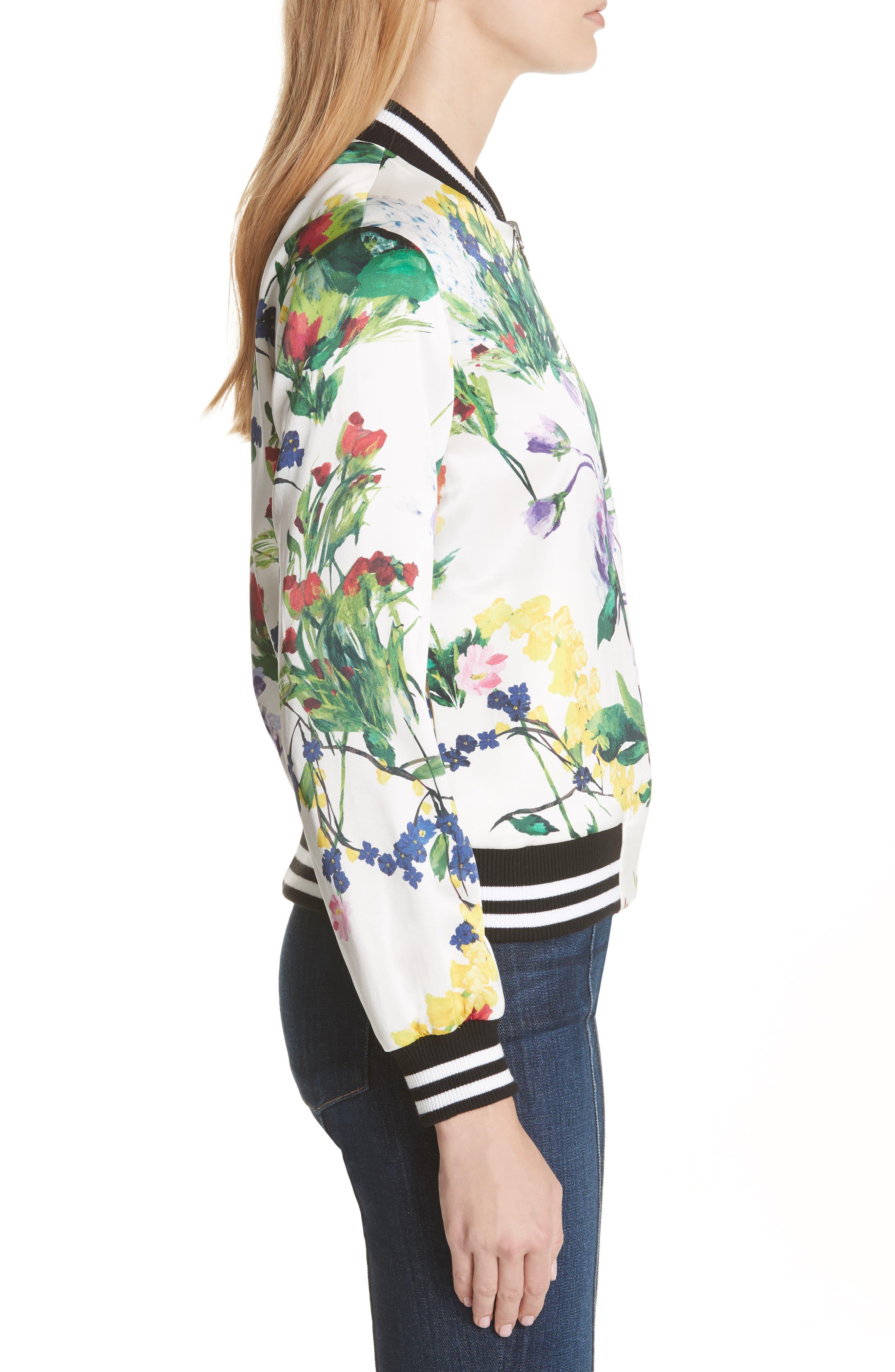 Lonnie Reversible Silk Bomber Jacket,                             Alternate thumbnail 4, color,                             Floral Damask/ Wildflower