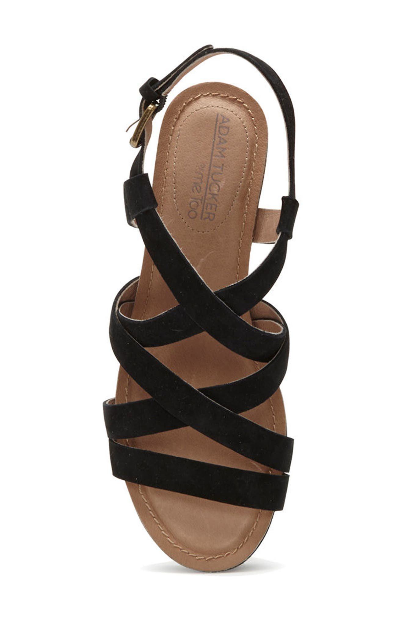 Adam Tucker Bria Strappy Sandal,                             Alternate thumbnail 5, color,                             Black Suede