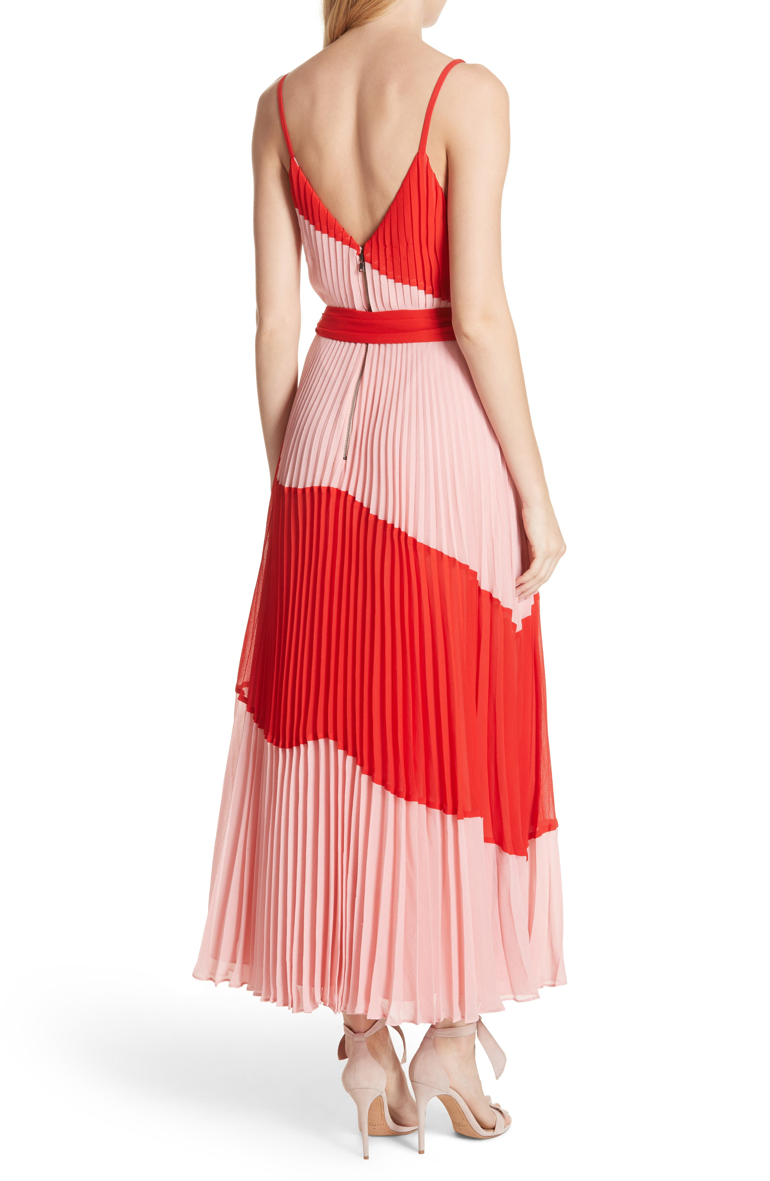 Rozlyn Pleat Colorblock Maxi Dress,                             Alternate thumbnail 2, color,                             Perfect Poppy/ Blossom
