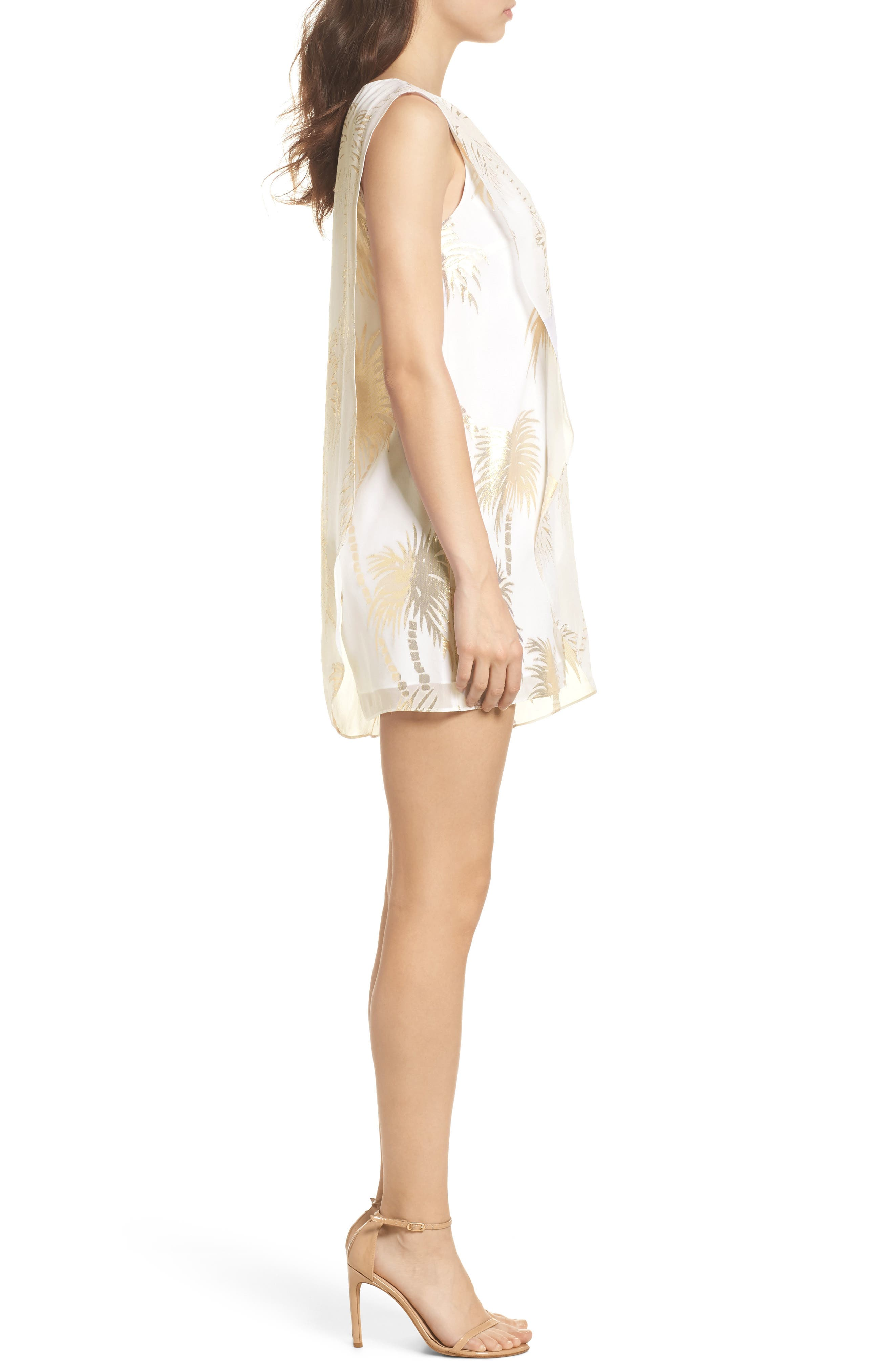 Calissa Silk Dress,                             Alternate thumbnail 3, color,                             Resort White Palm Tree Clip