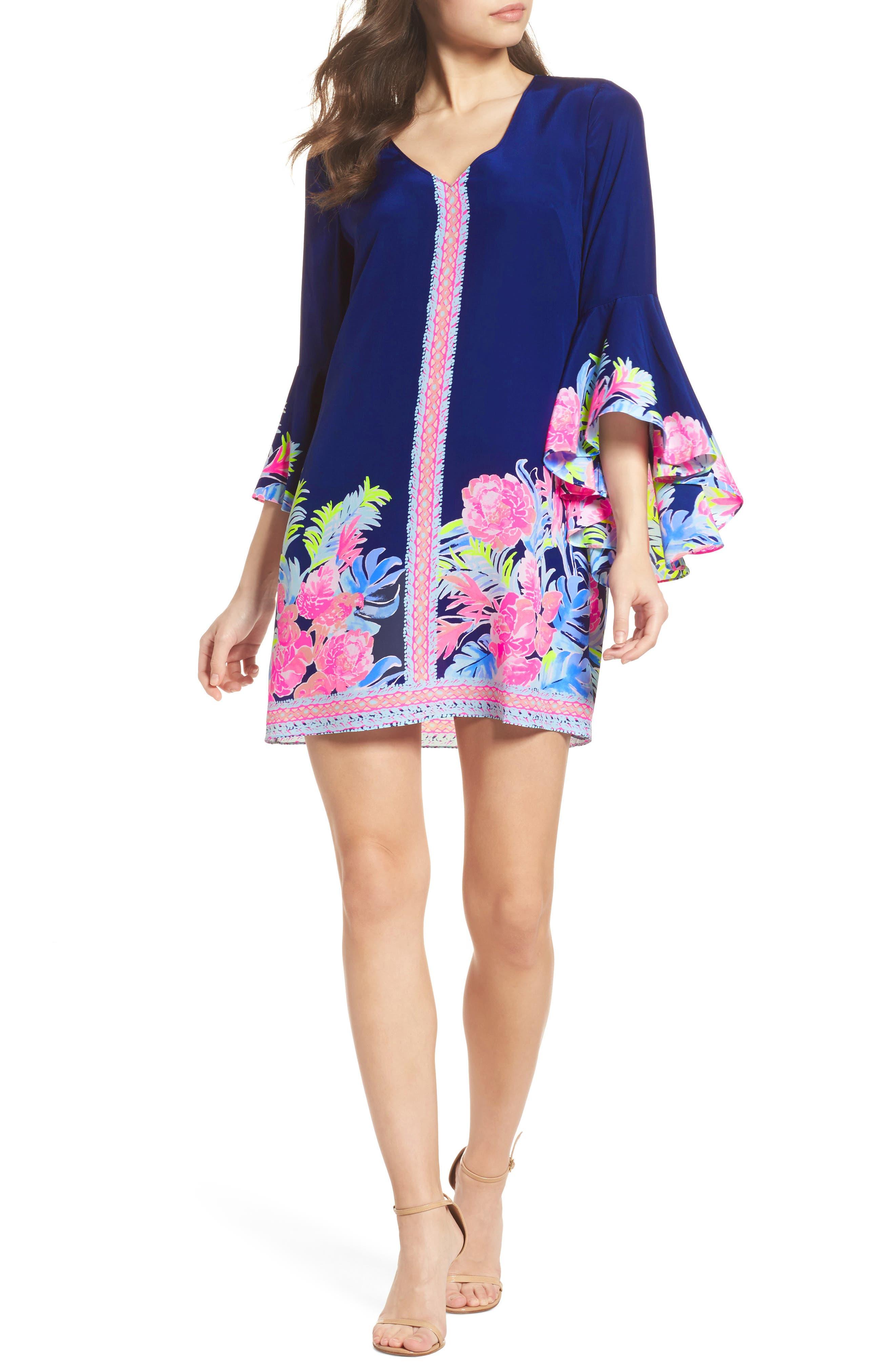 Rosalia Bell Sleeve Silk A-Line Dress,                             Main thumbnail 1, color,                             High Tide Tropicolada
