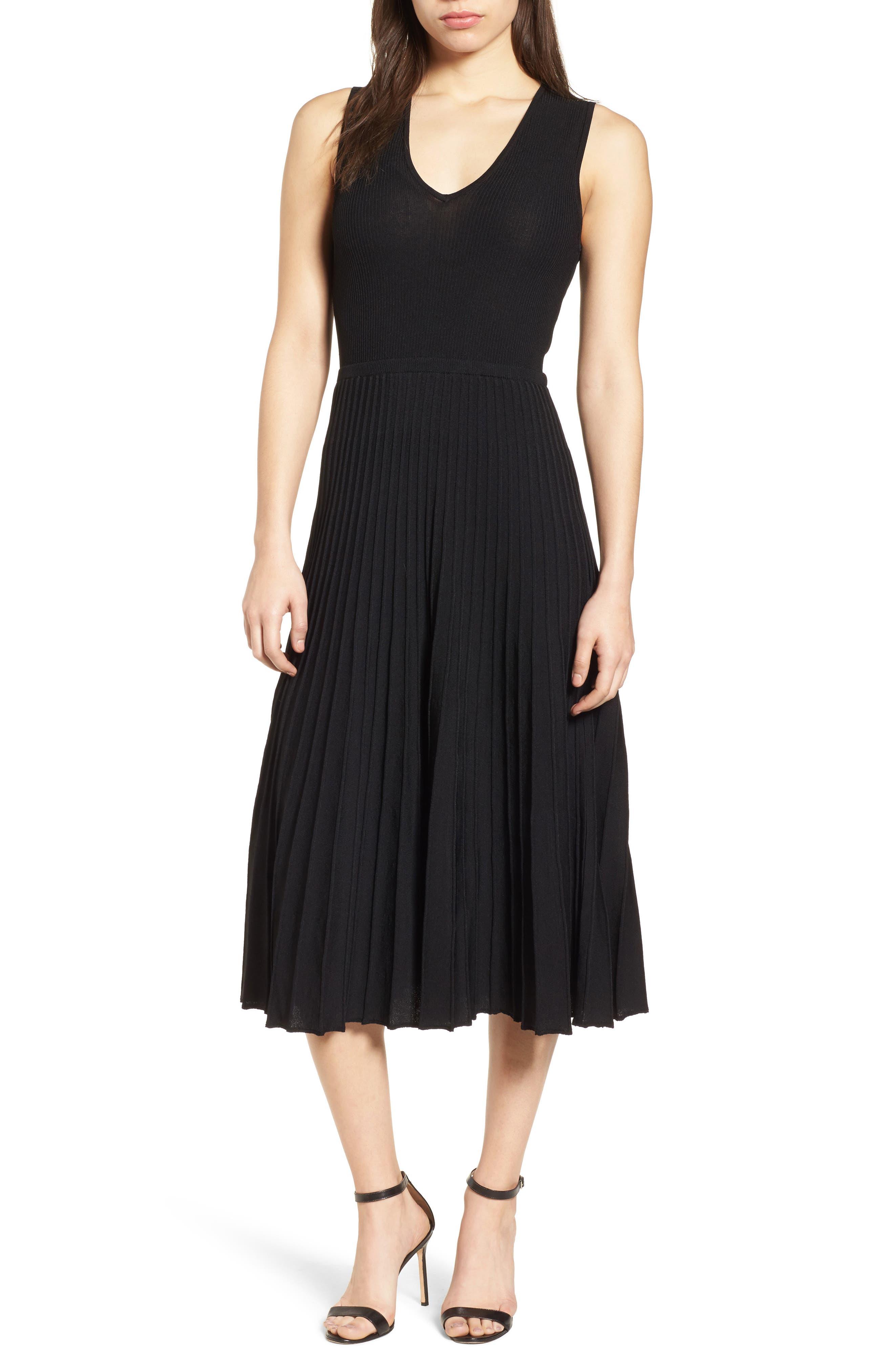 New York Pleated Sweater Midi Dress,                             Main thumbnail 1, color,                             Black