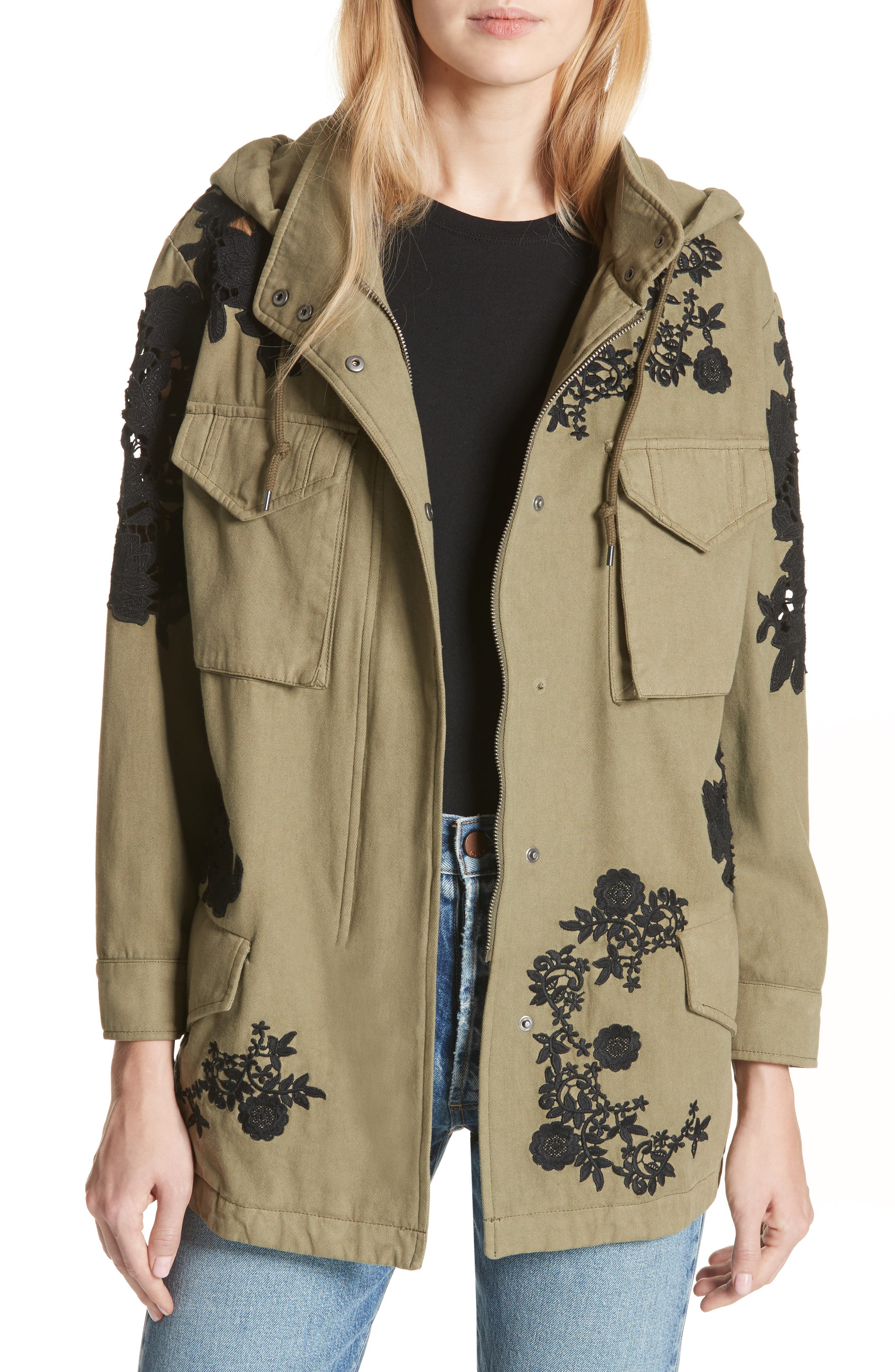 Meta Embroidered Utility Jacket,                             Main thumbnail 1, color,                             Olive/ Black