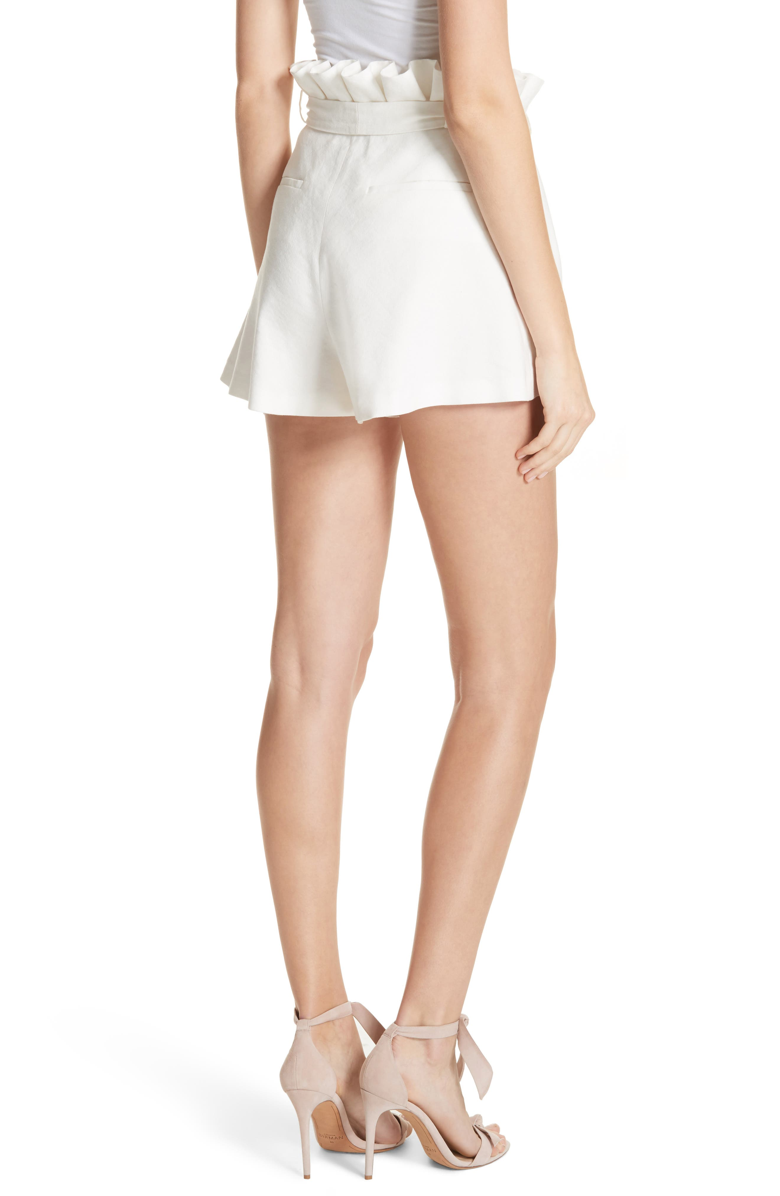 Laurine Paperbag Shorts,                             Alternate thumbnail 2, color,                             Off White
