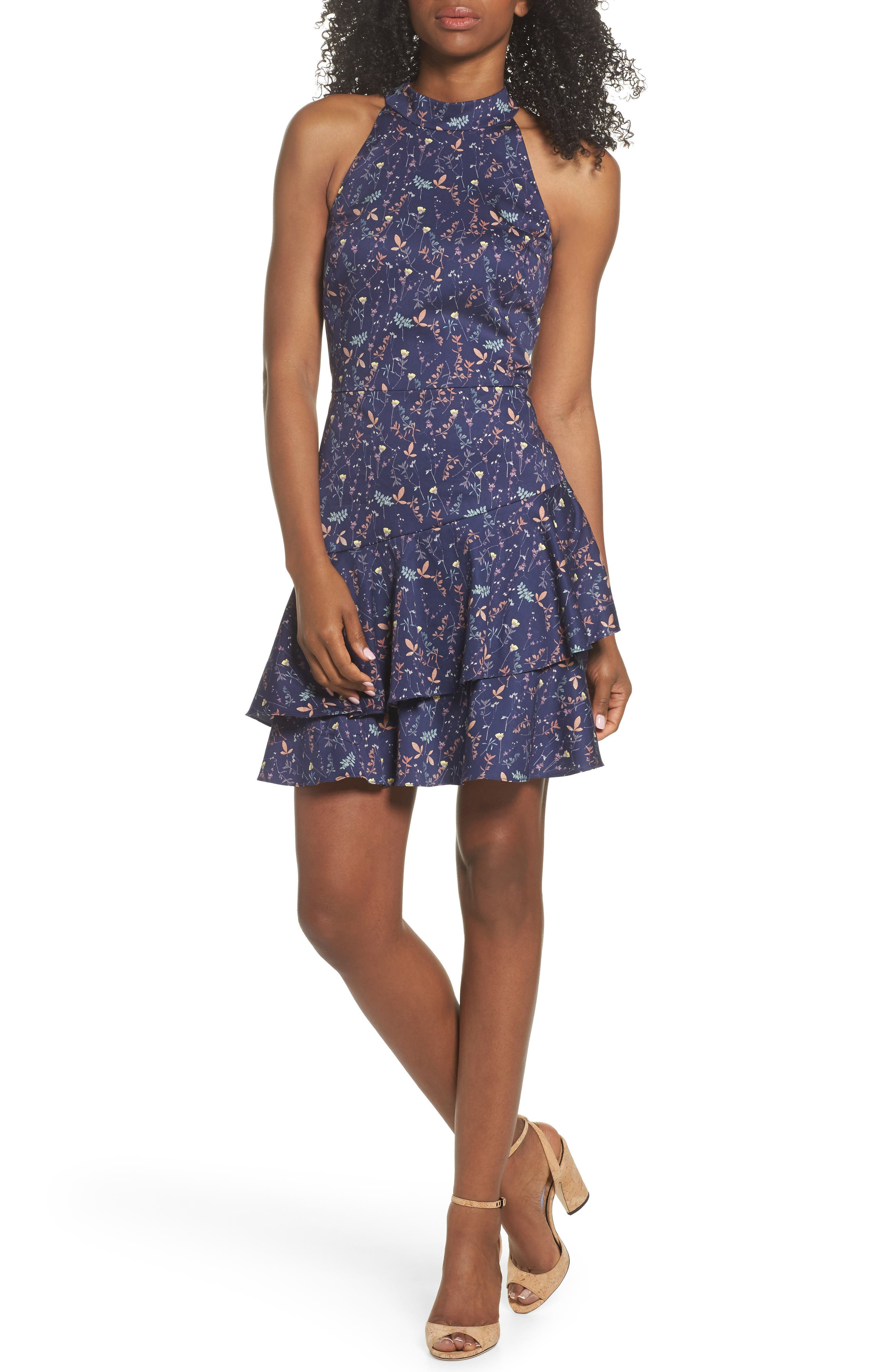 Forest Lily Halter Fit & Flare Dress