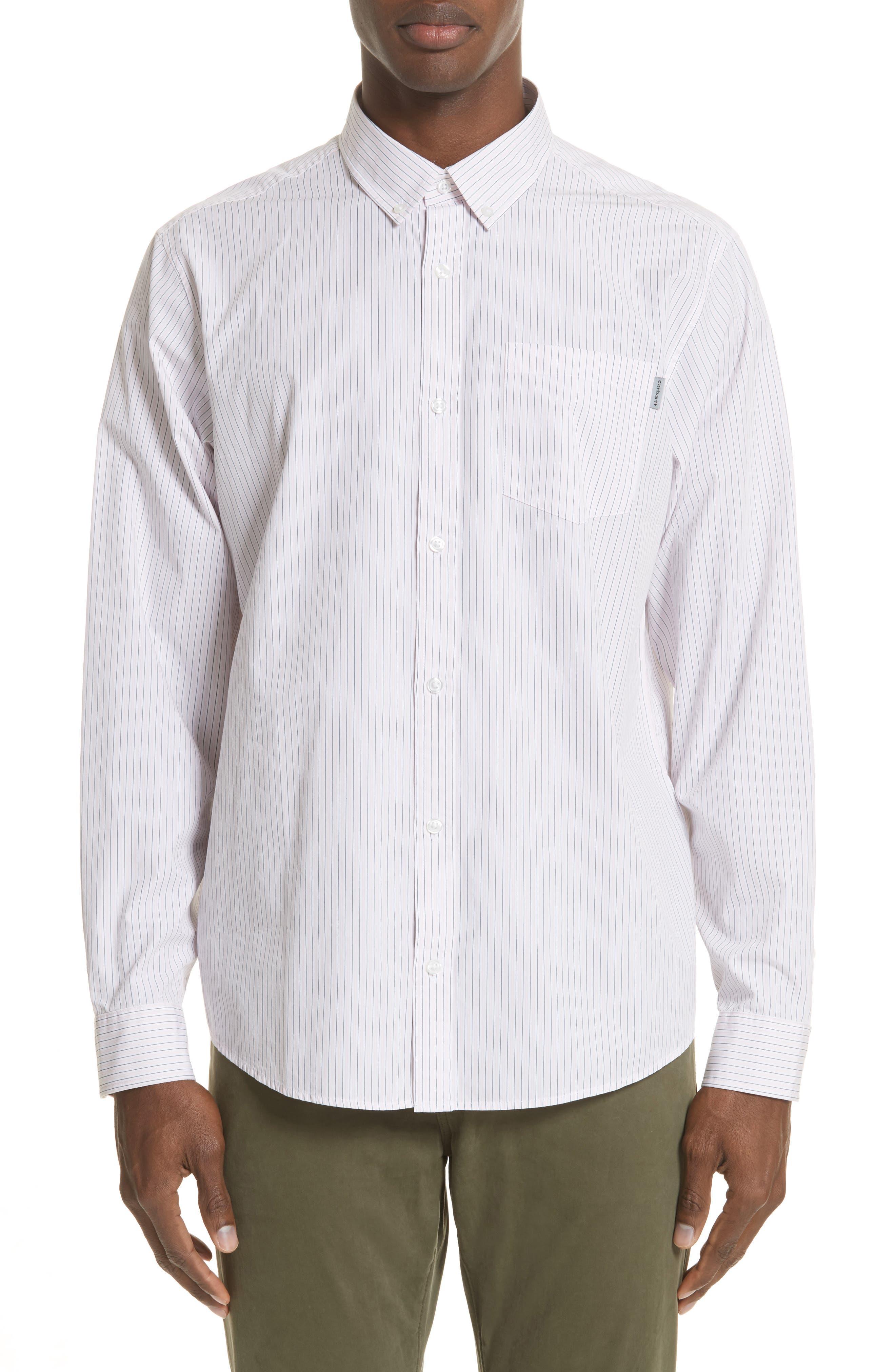 Crane Stripe Woven Shirt,                         Main,                         color, 971St-Sandy Rose