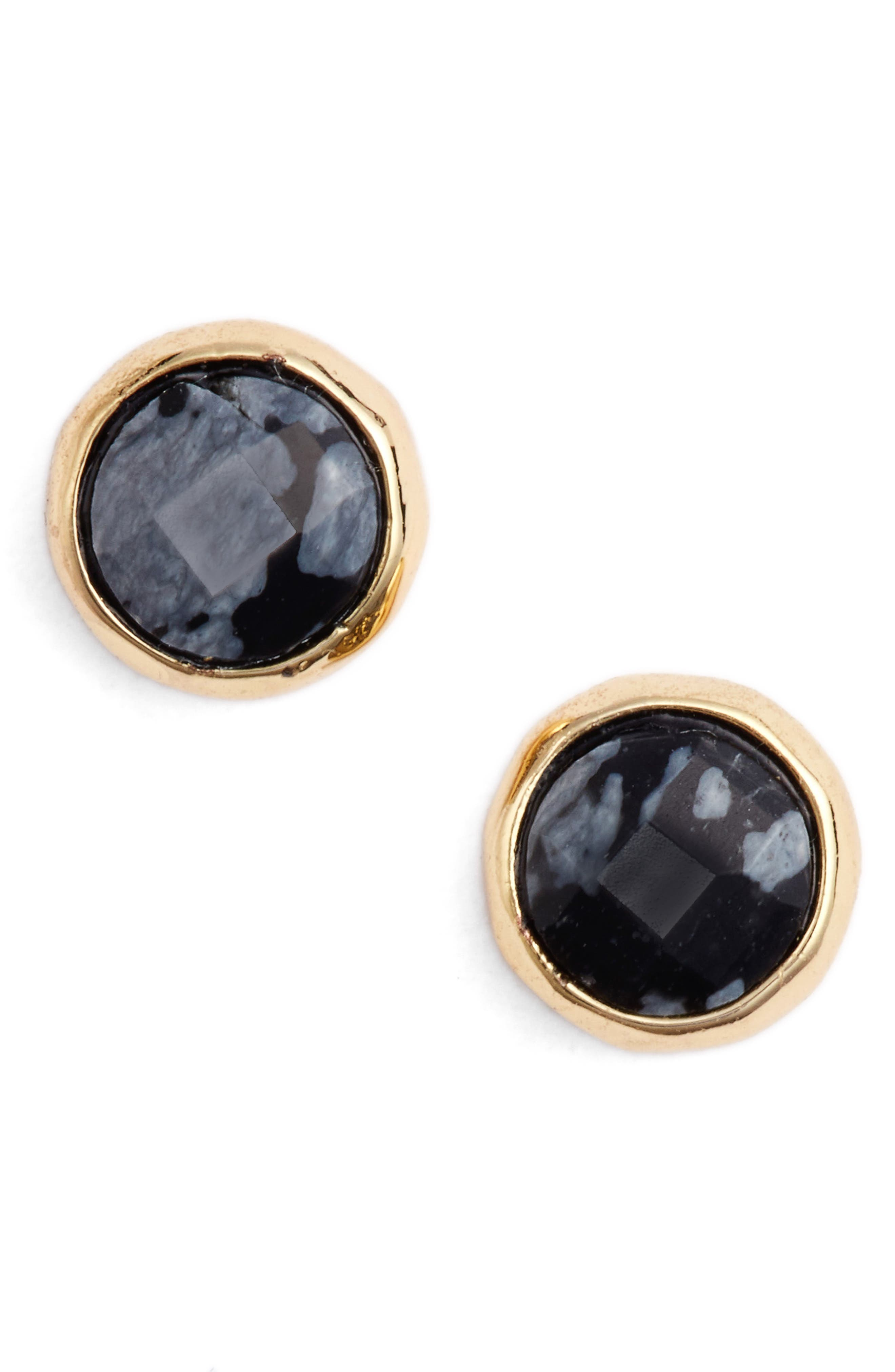 Courage Stud Earrings,                         Main,                         color, Snowflake Obsidian/ Gold