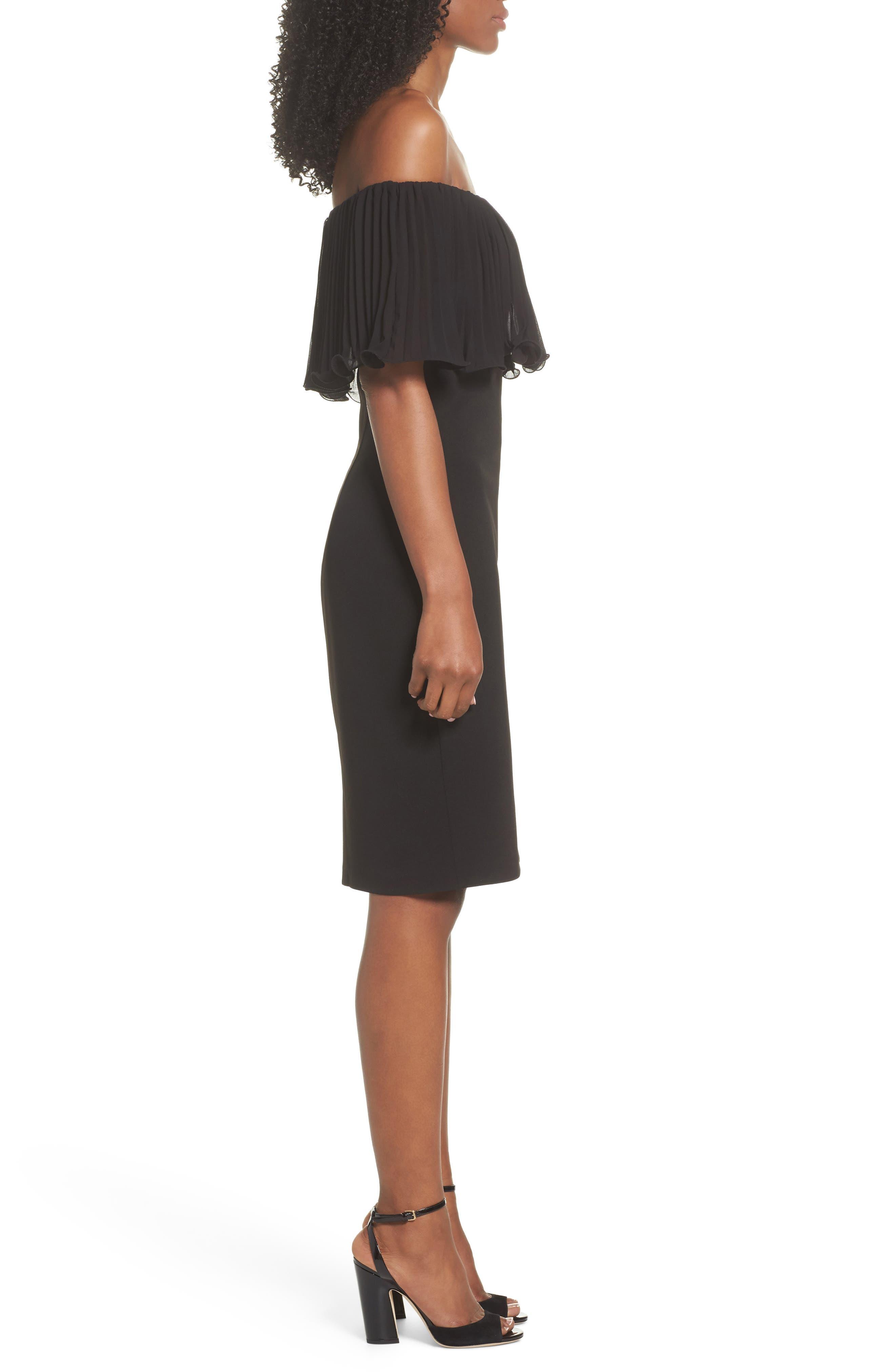Pleat Ruffle Off the Shoulder Dress,                             Alternate thumbnail 3, color,                             Black