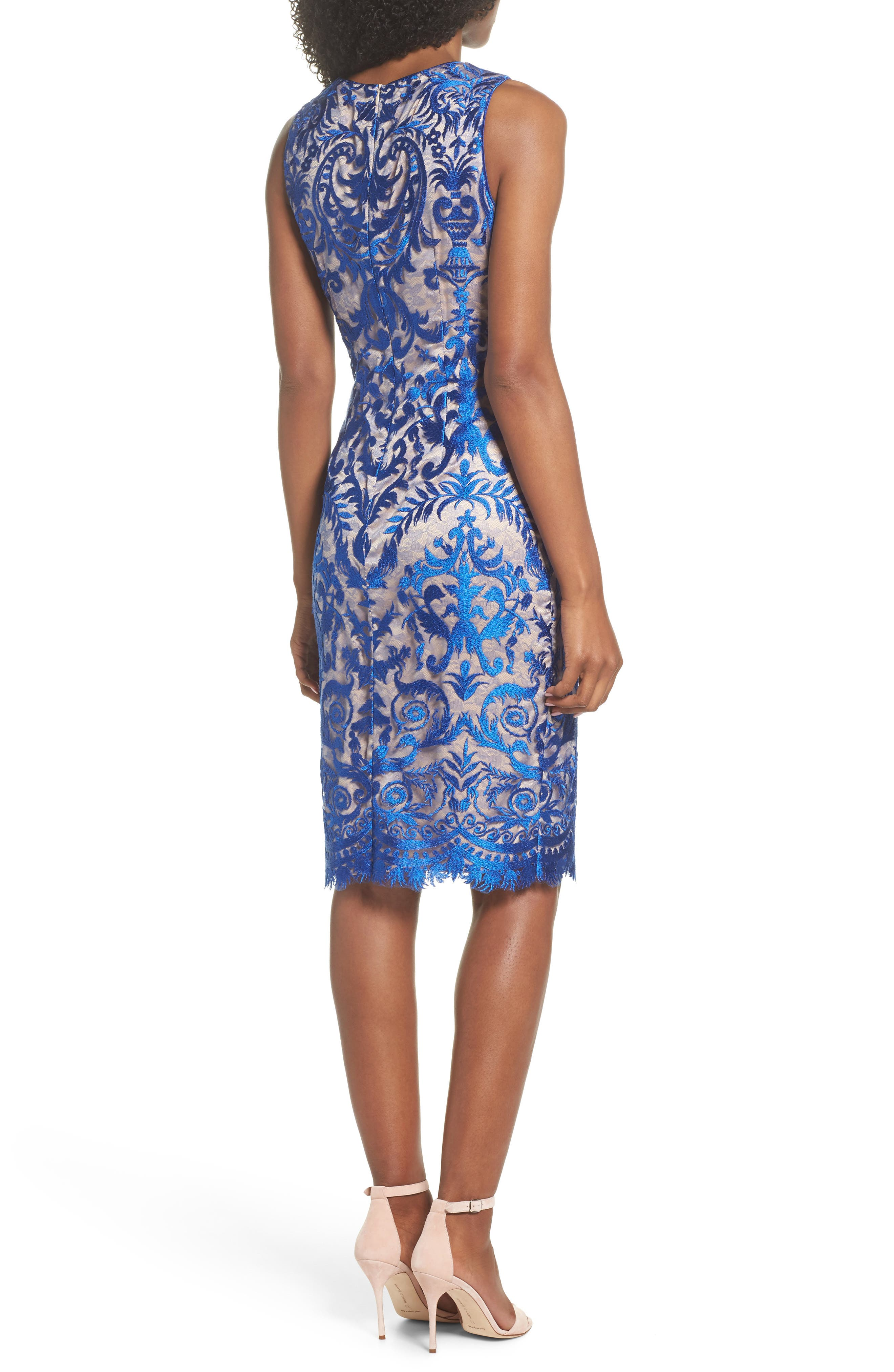 Embroidered Mesh Sheath Dress,                             Alternate thumbnail 2, color,                             Royal