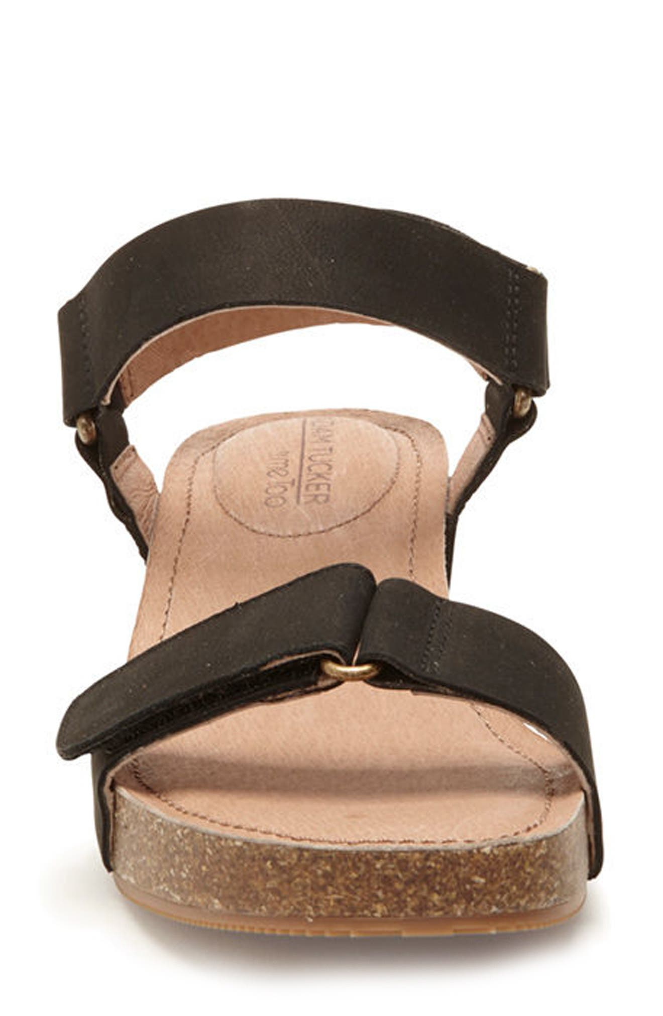 Adam Tucker Shea Wedge Sandal,                             Alternate thumbnail 4, color,                             Black Nubuck Leather