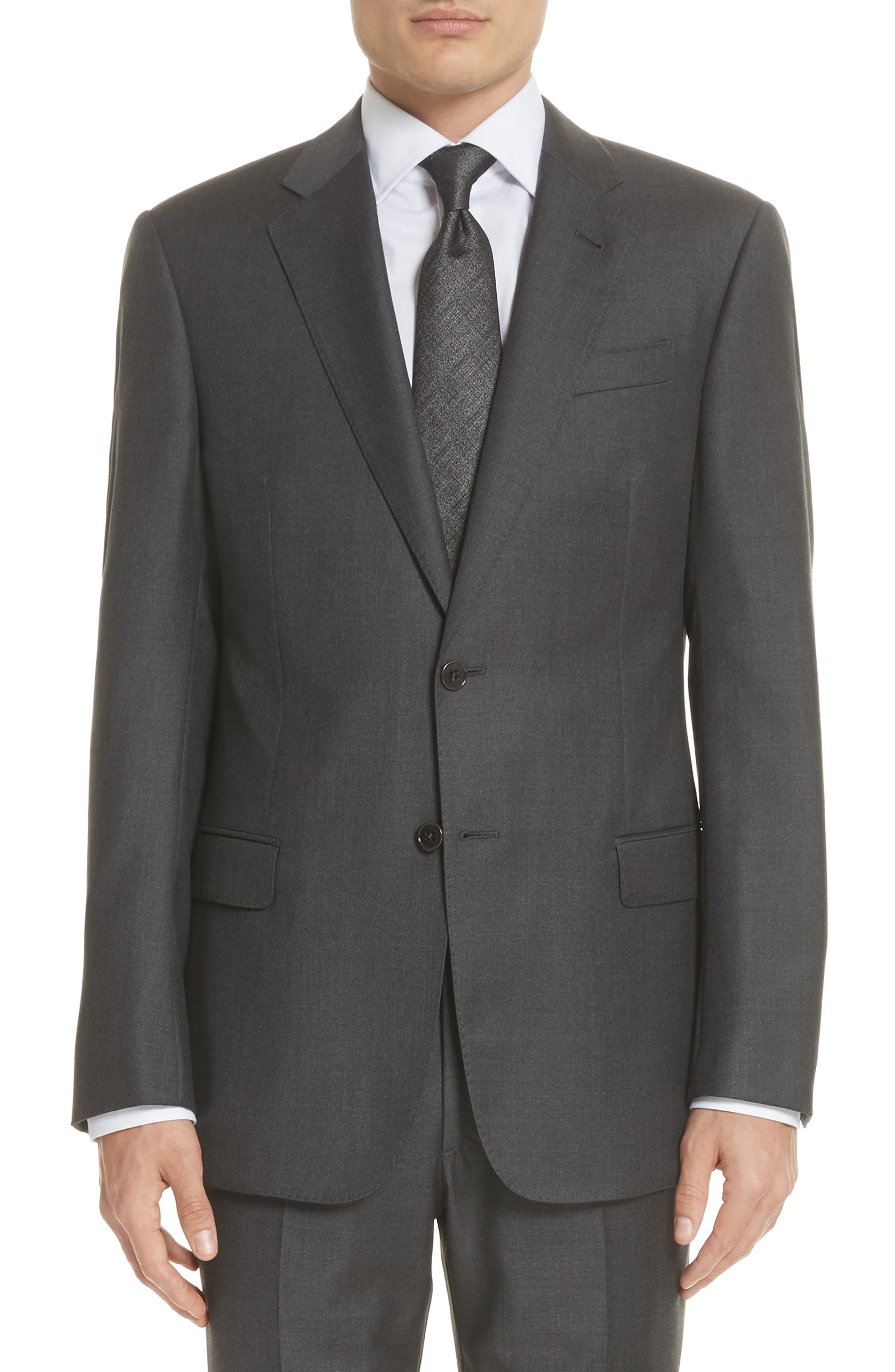 Trim Fit Solid Wool Suit,                             Alternate thumbnail 5, color,                             Grey