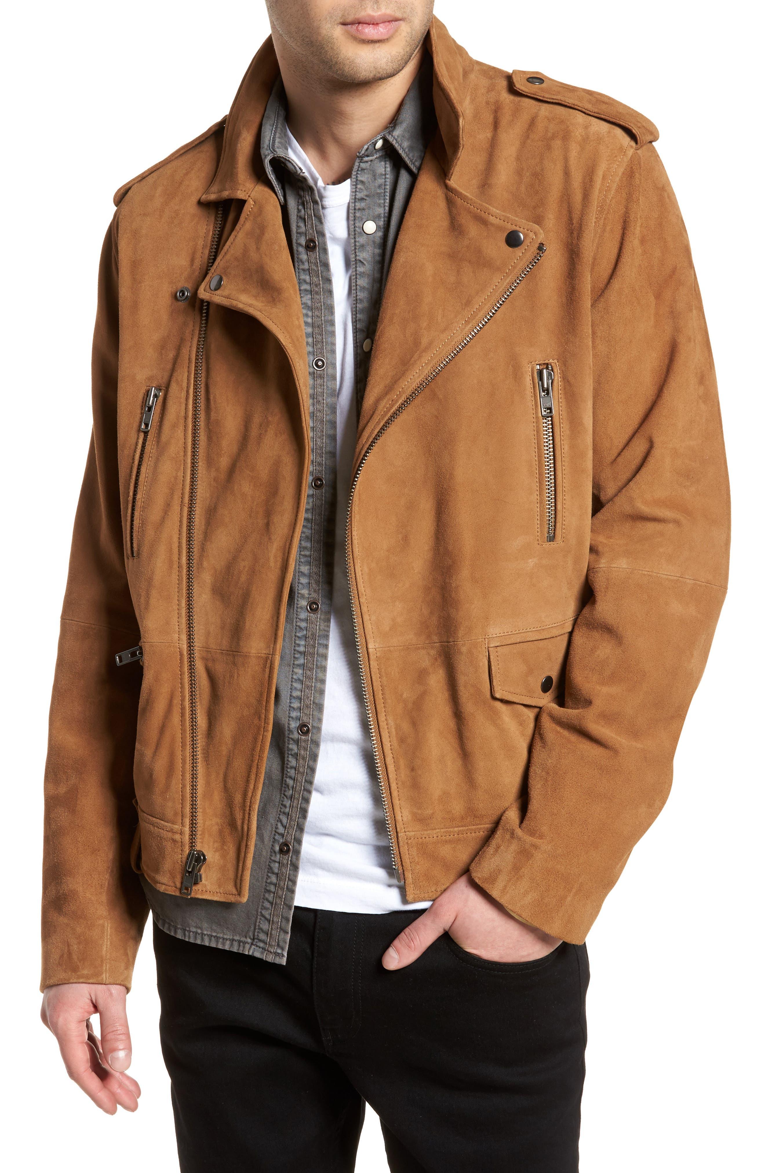 Suede Moto Jacket,                         Main,                         color, Tan Antique