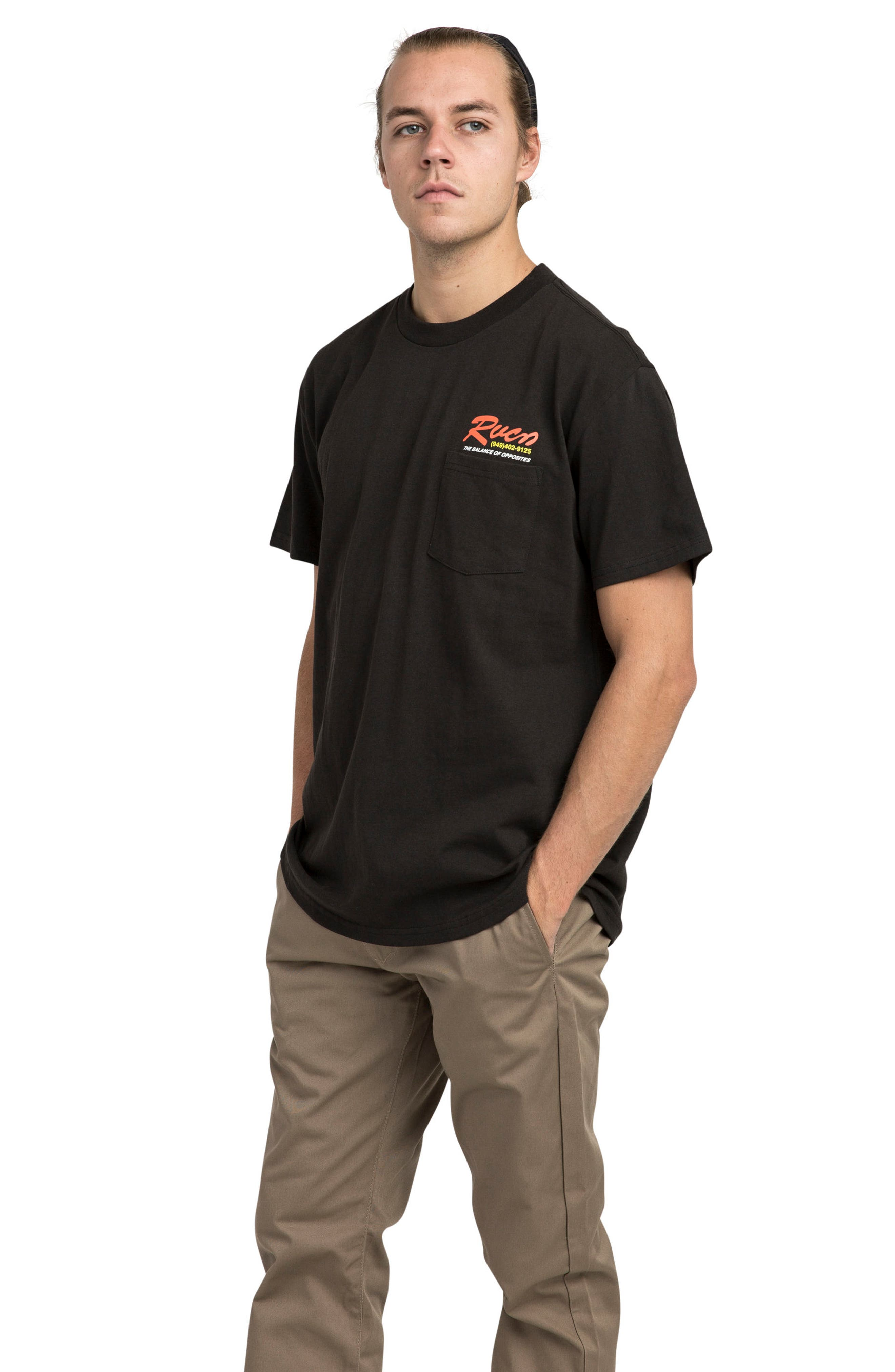 Bonded Graphic Pocket T-Shirt,                             Alternate thumbnail 3, color,                             Black