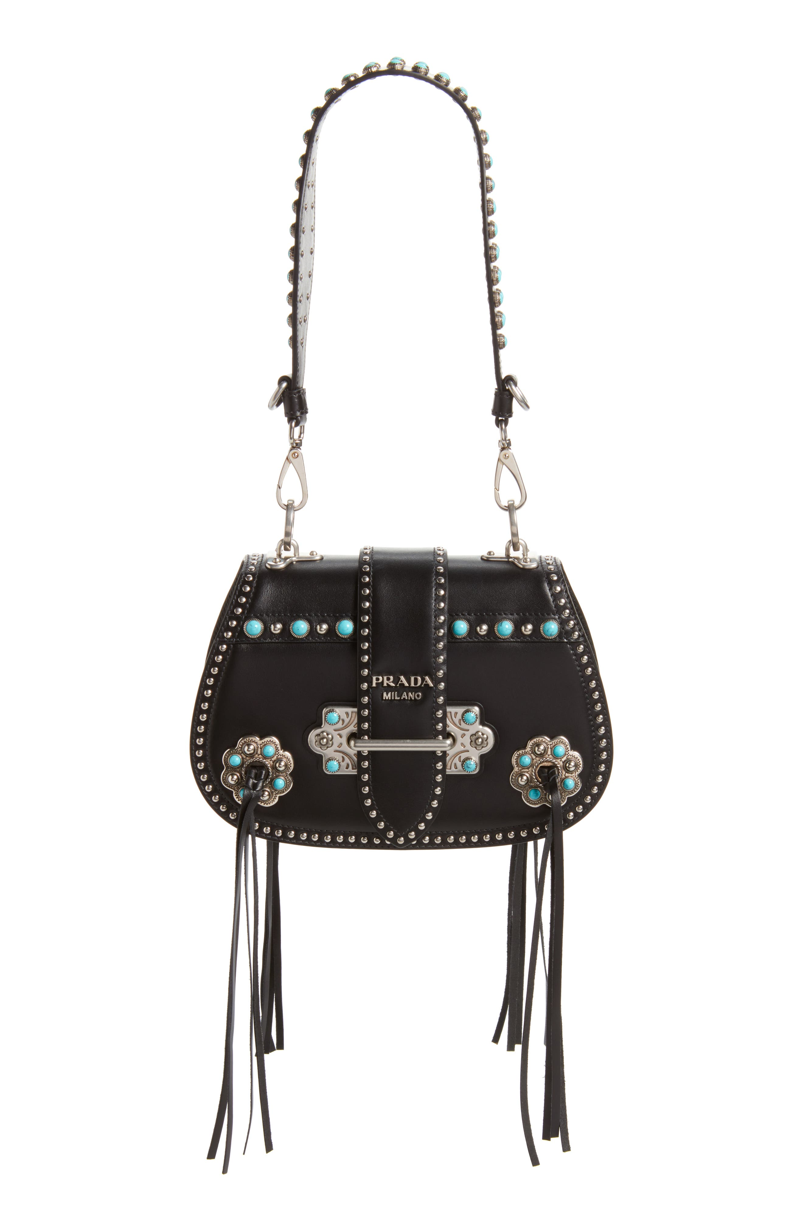 City Calfskin Saddle Bag,                         Main,                         color, Nero