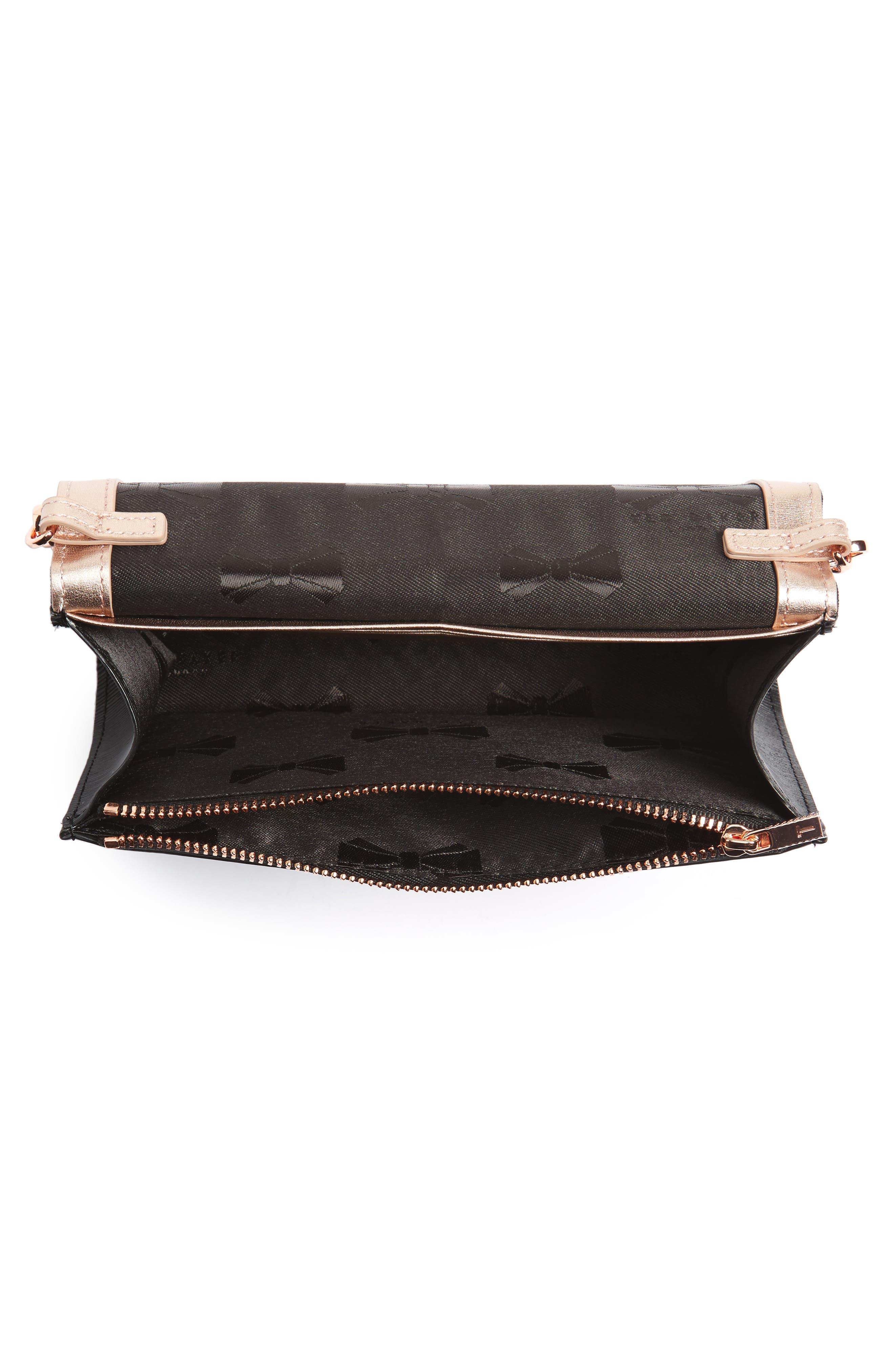 Melisia Bow Matinée Wallet on a Chain,                             Alternate thumbnail 4, color,                             Black