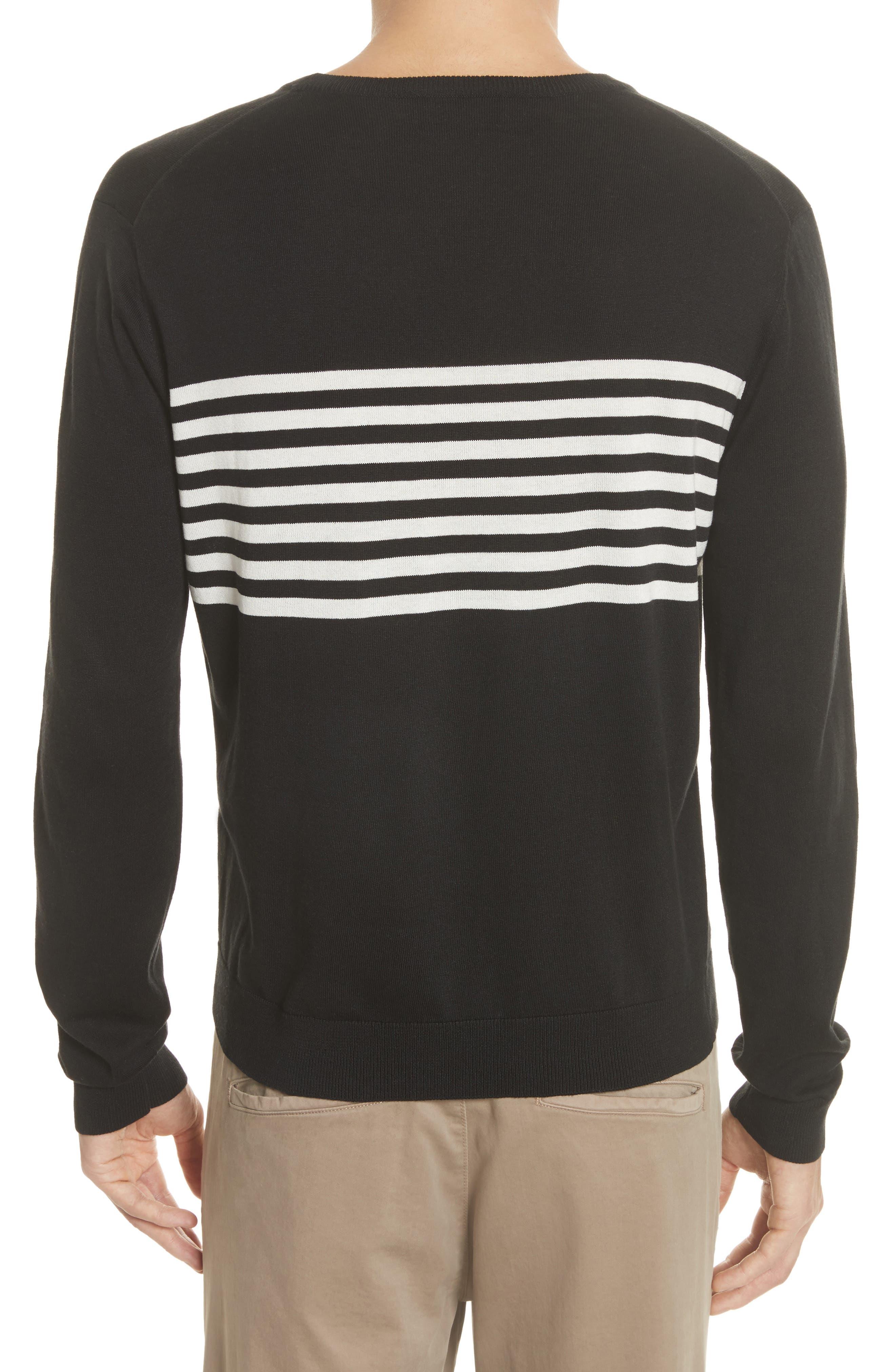 Stripe Silk & Cotton Sweater,                             Alternate thumbnail 2, color,                             Black