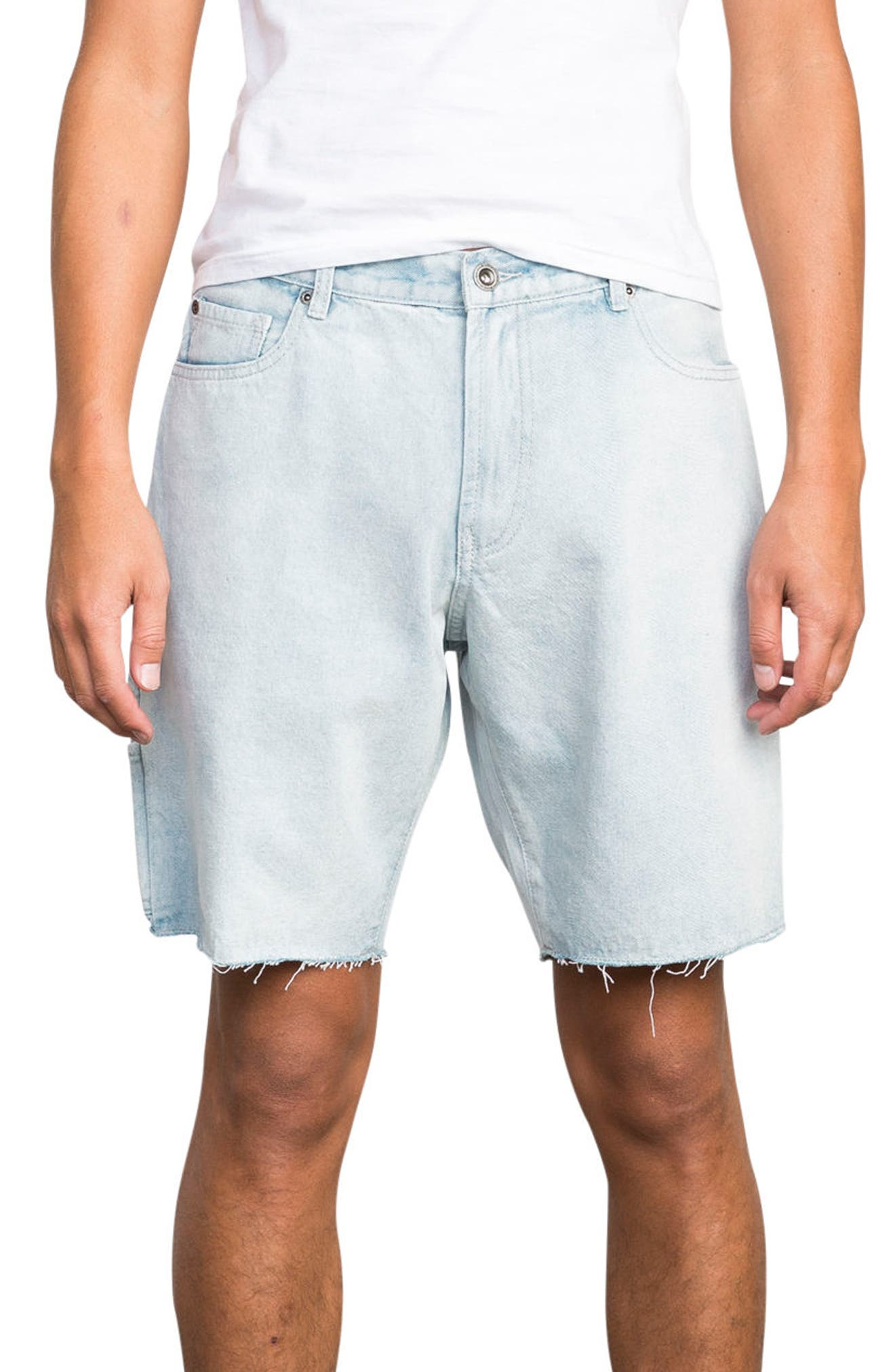 Work It Denim Shorts,                             Main thumbnail 1, color,                             Denim