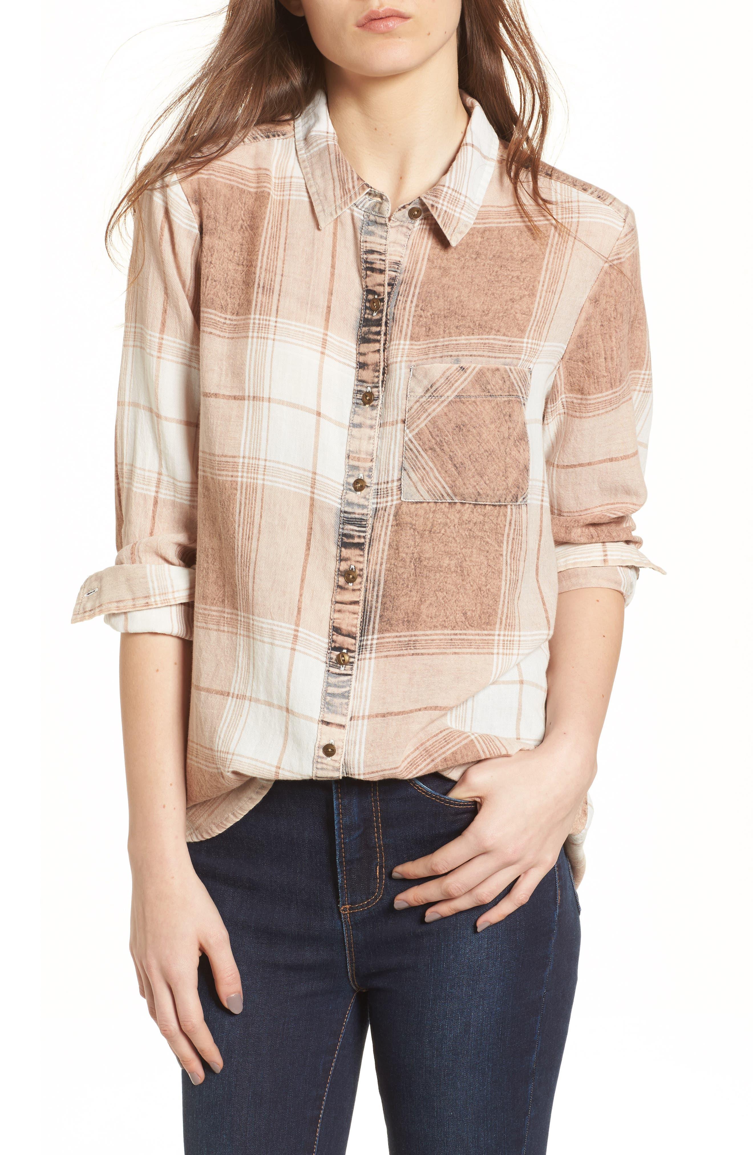 Plaid Button Up Shirt,                         Main,                         color, Tan Nomad Freida Plaid
