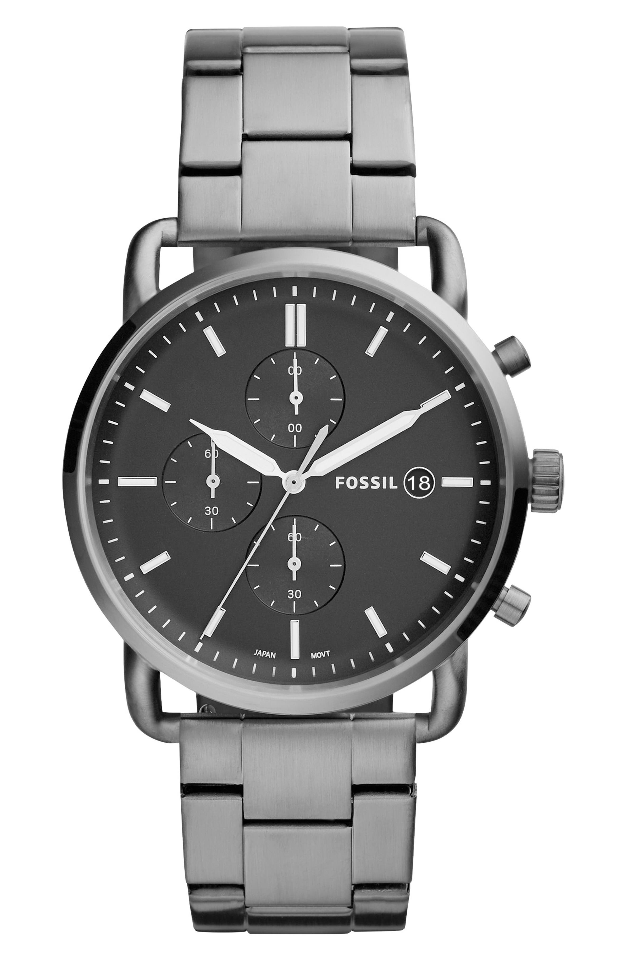 The Commuter Chronograph Bracelet Watch, 42mm,                             Main thumbnail 1, color,                             Grey/ Black/ Smoke