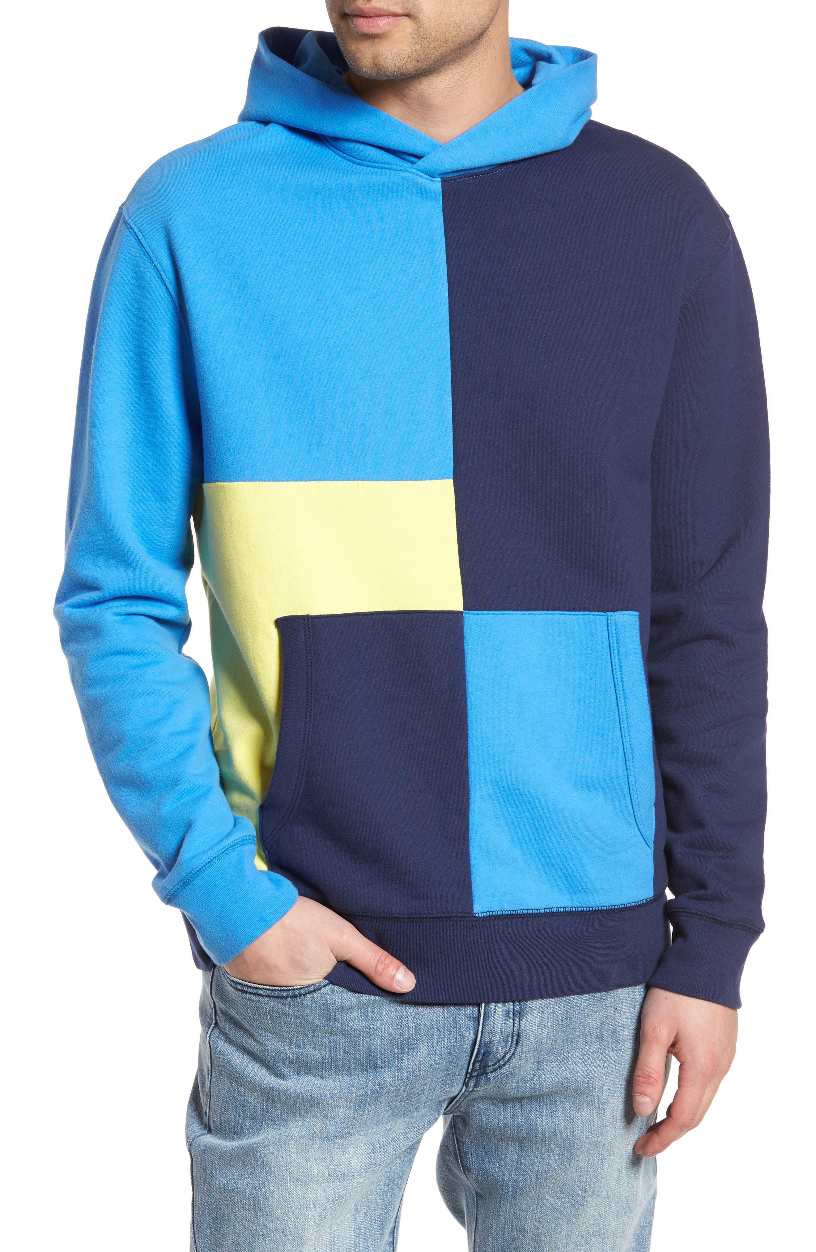 Colorblock Hoodie Sweatshirt,                         Main,                         color, Navy Blue Yellow Block