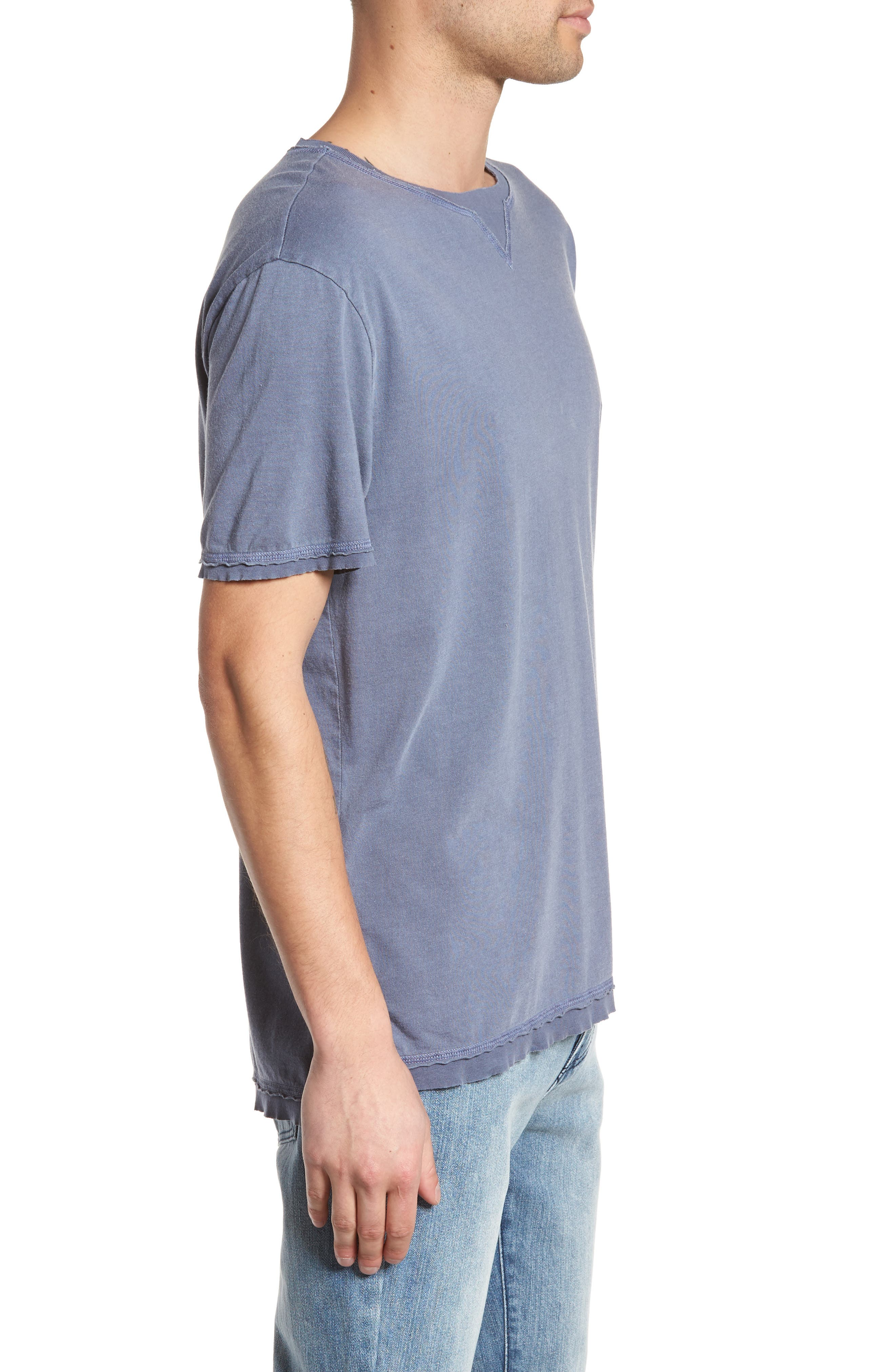 Raw Hem T-Shirt,                             Alternate thumbnail 3, color,                             Blue Indigo