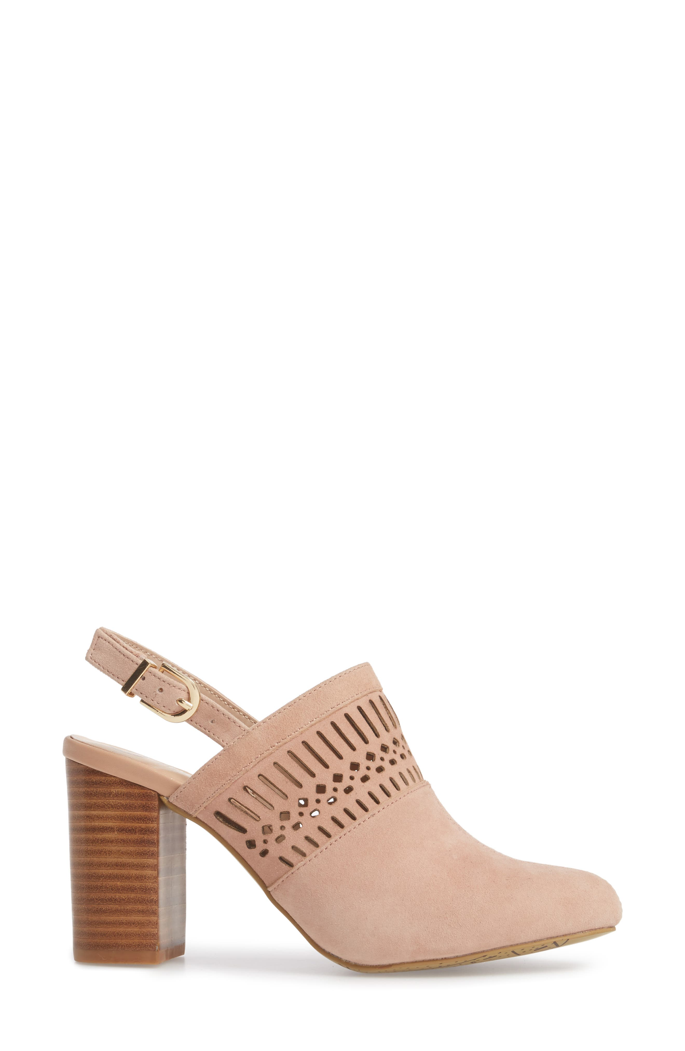 Nox Slingback Perforated Pump,                             Alternate thumbnail 3, color,                             Blush Suede