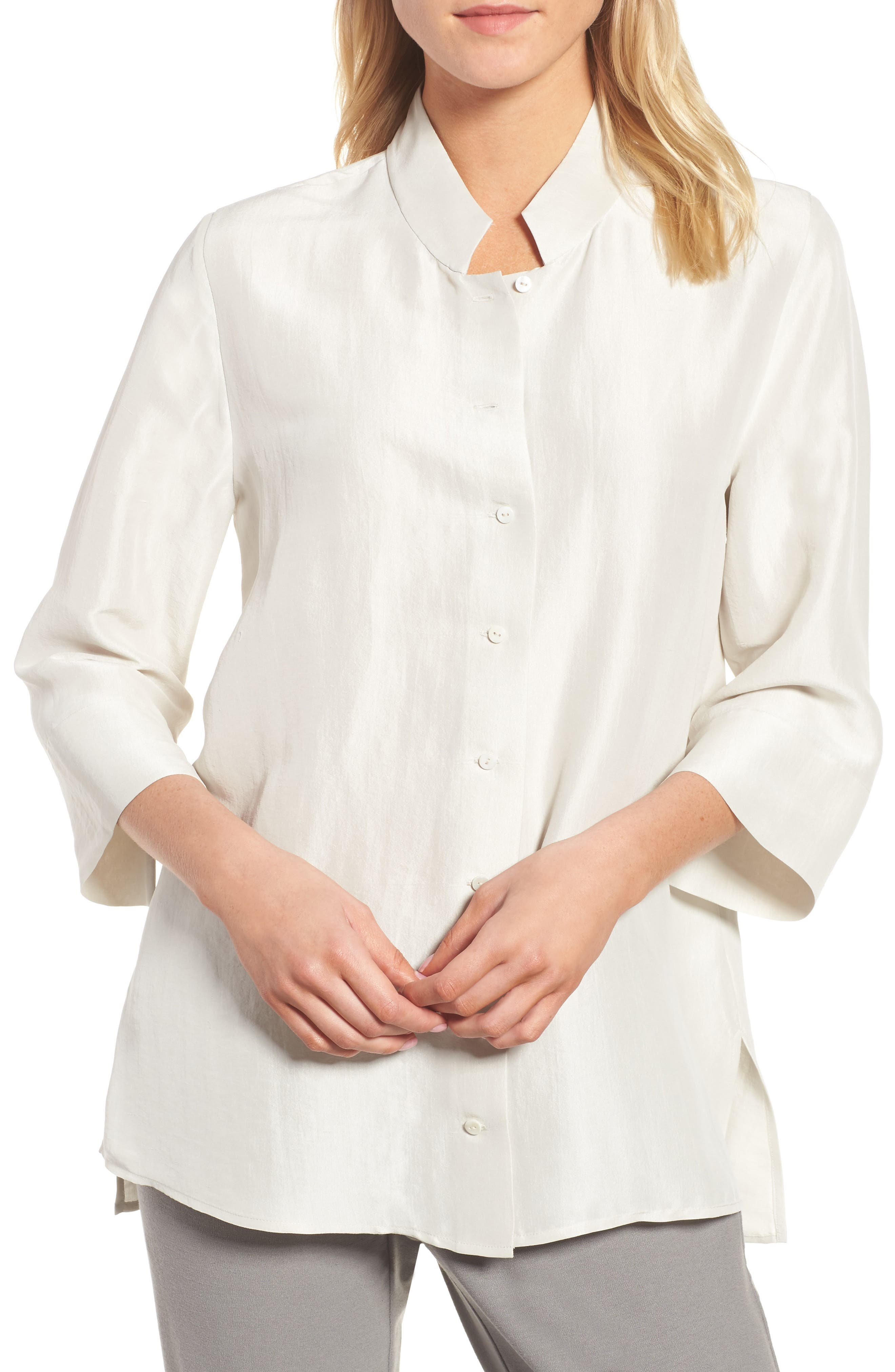 Eileen Fisher Silk Georgette Crepe Stand Collar Shirt