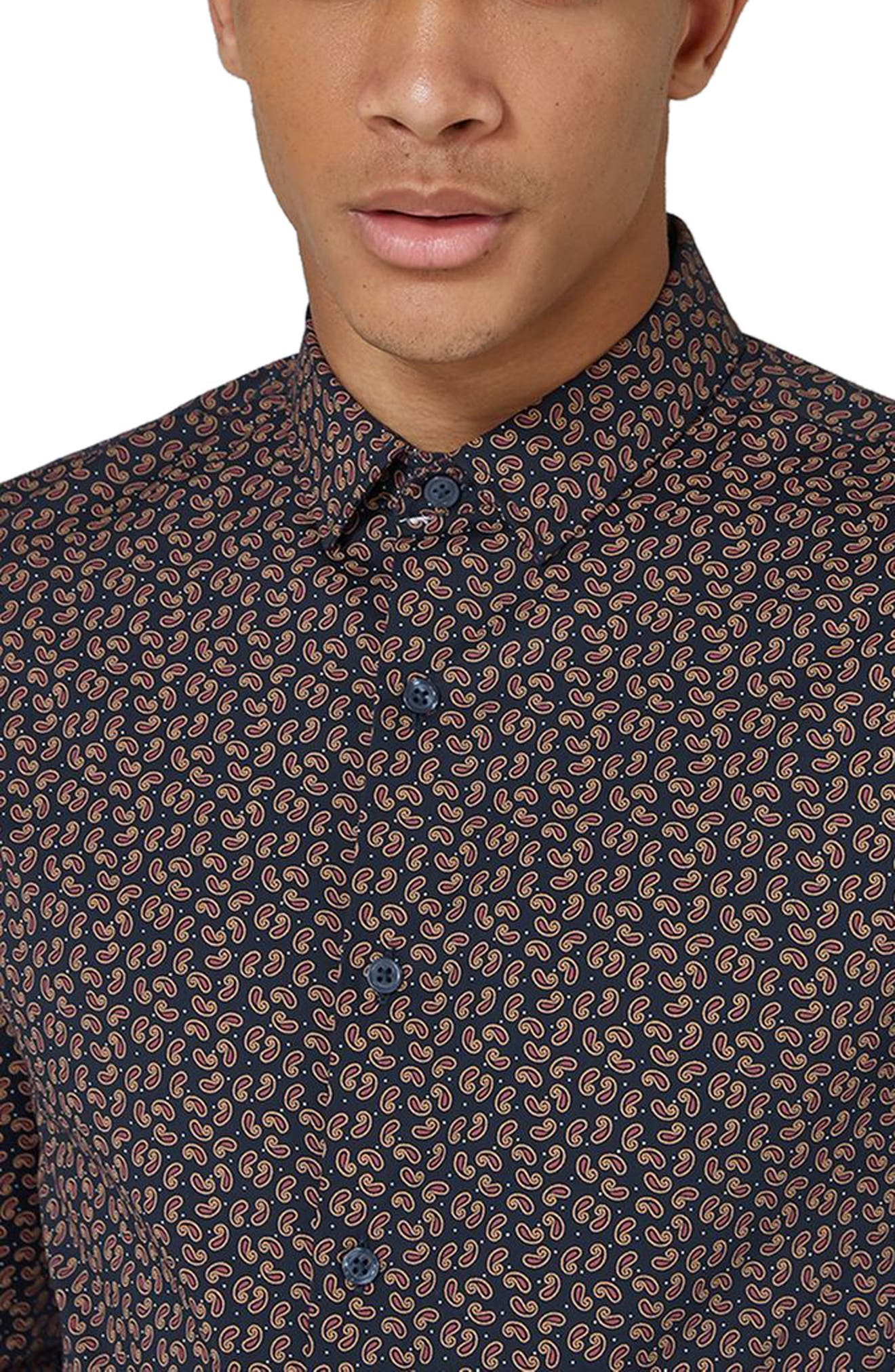 Muscle Fit Paisley Dot Sport Shirt,                             Alternate thumbnail 3, color,                             Navy Blue Multi