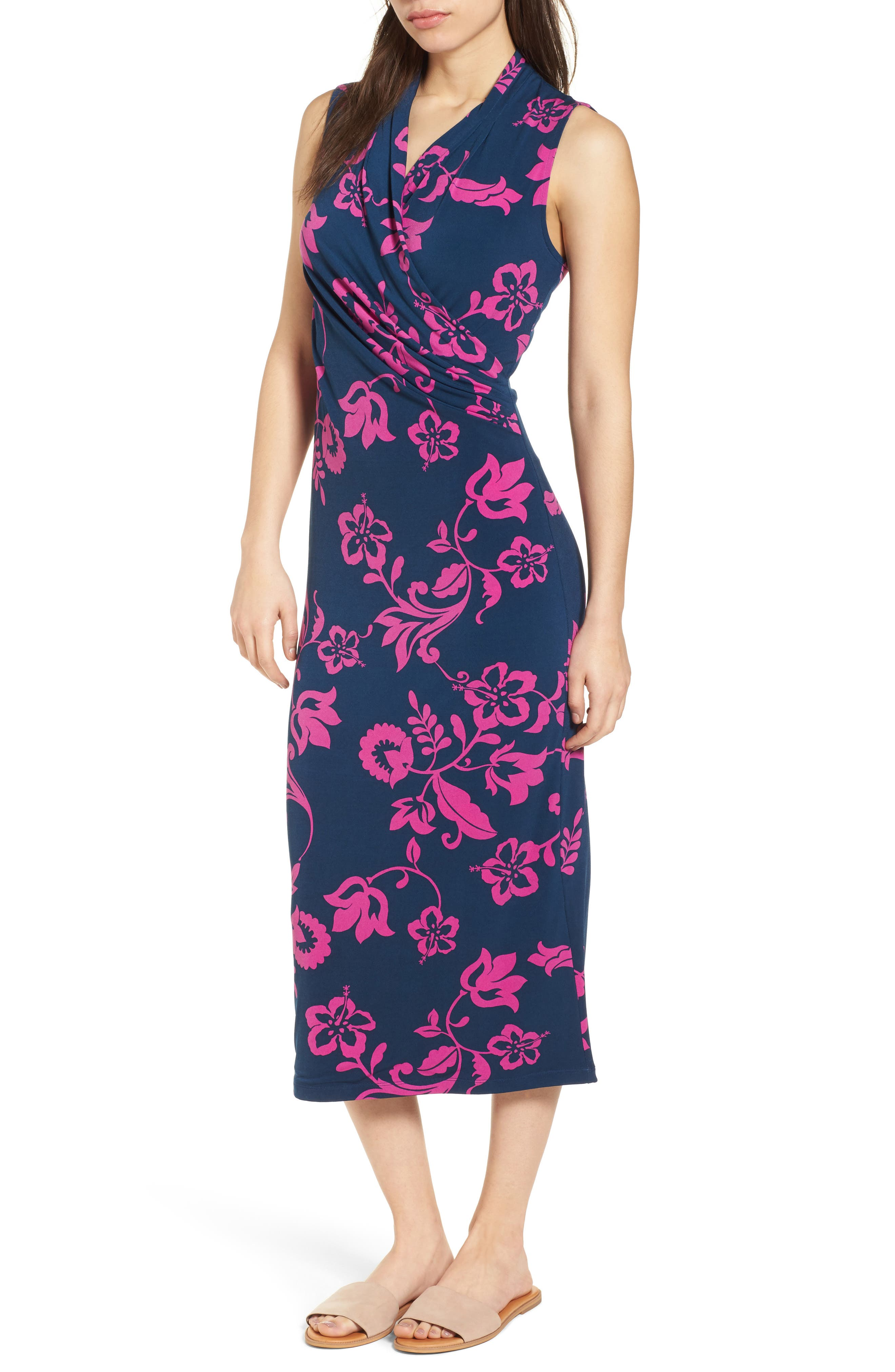 San Lucia Faux Wrap Midi Dress,                         Main,                         color, Ocean Deep