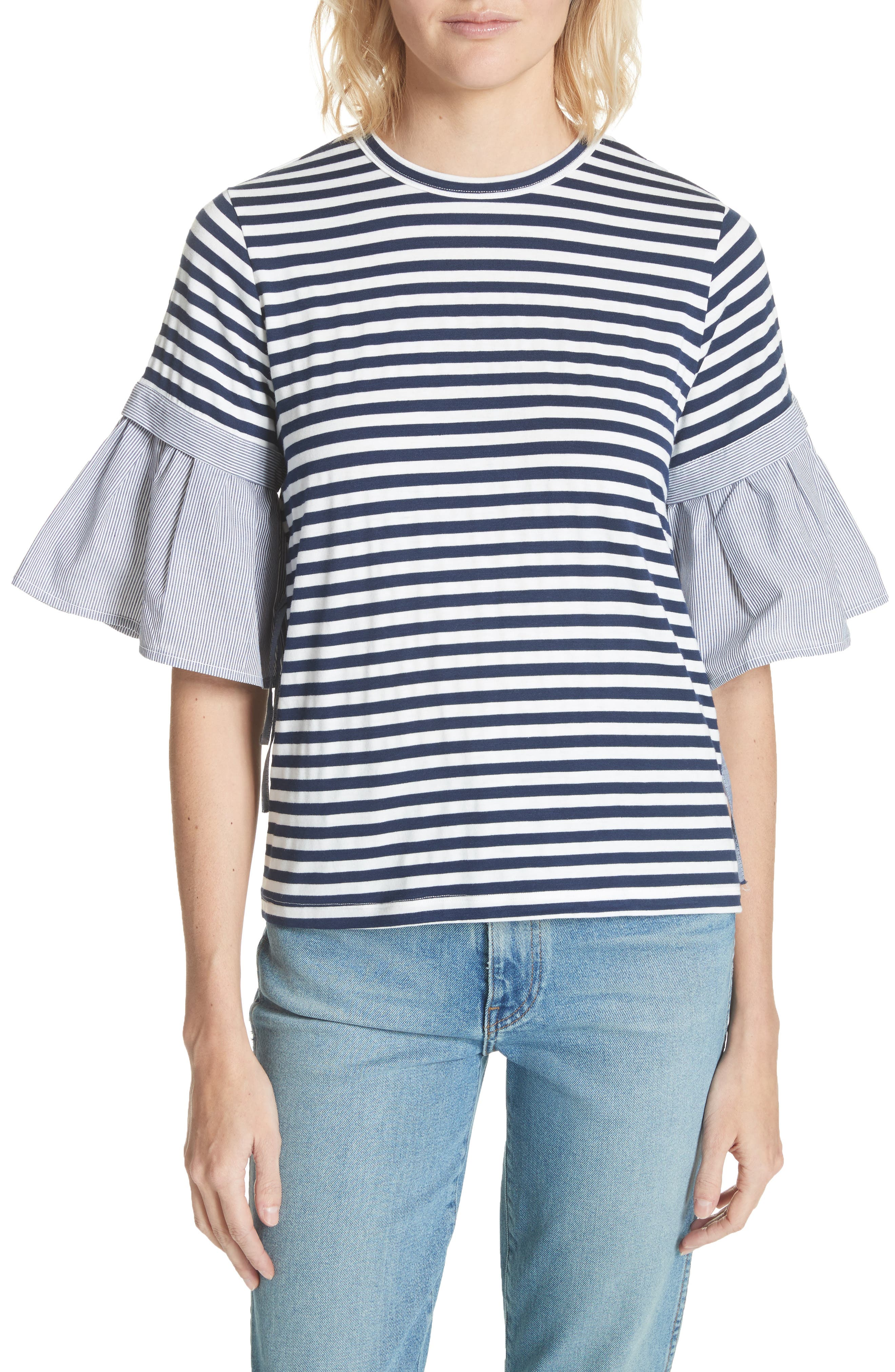 Ruffle Sleeve Stripe Tee,                         Main,                         color, Navy