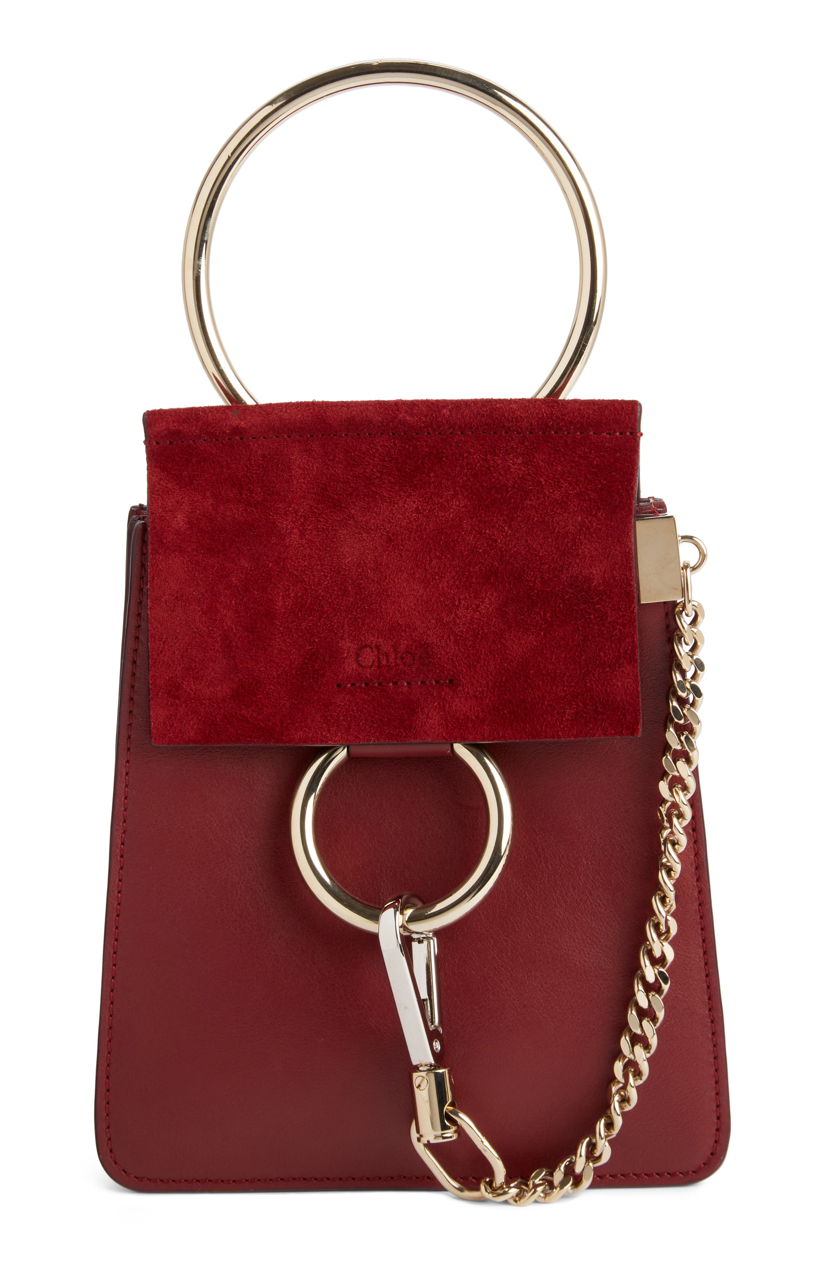 Main Image - Chloé Faye Small Suede & Leather Bracelet Bag