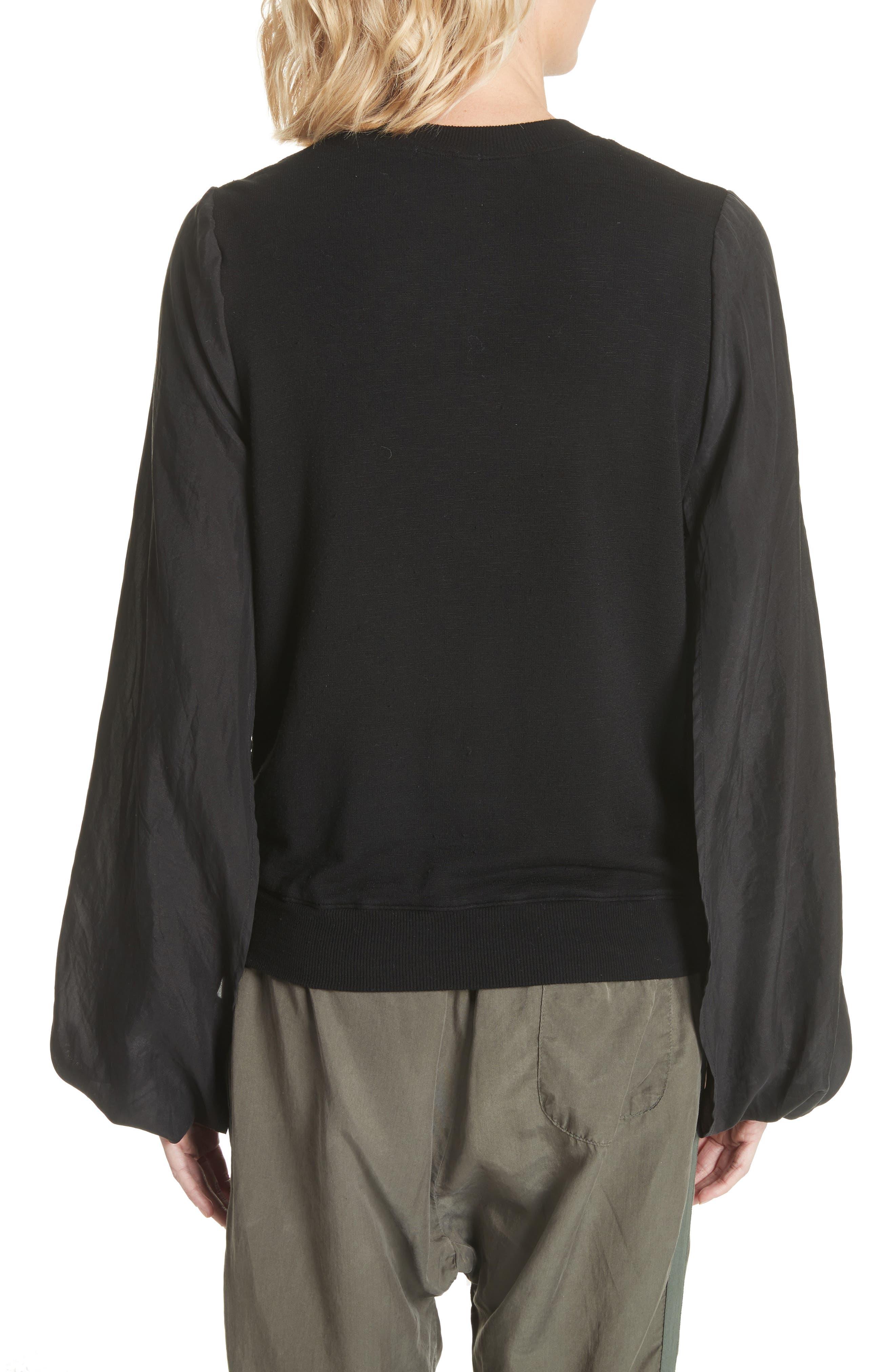 Contrast Sleeve Sweatshirt,                             Alternate thumbnail 2, color,                             Black